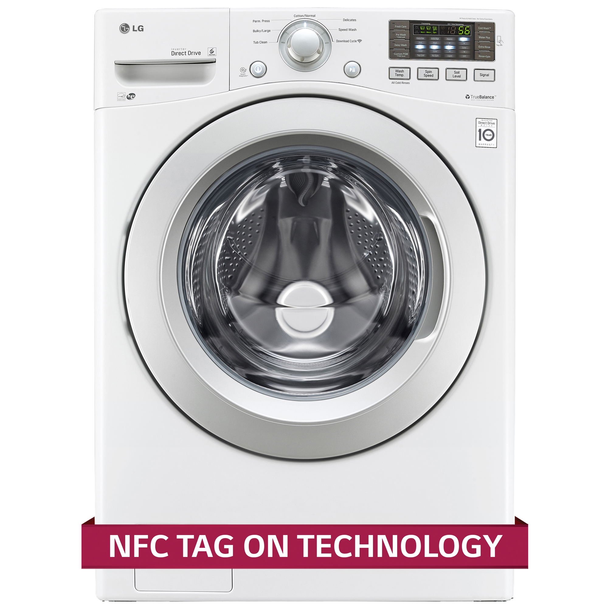 LG WM3170CW 4.3 cu. ft. Capacity Front Load Washer w/ NFC Tag On Technology – White