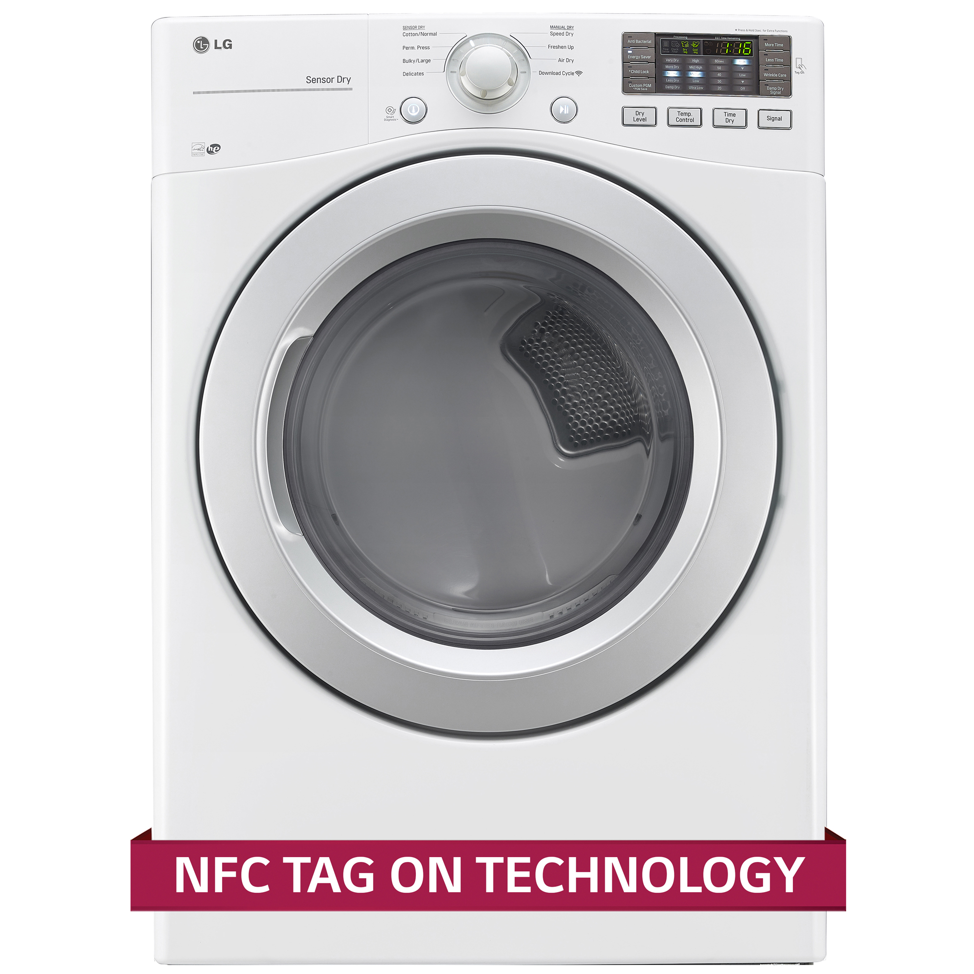 LG DLE3170W 7.4 cu. ft. Capacity Electric Dryer w/ NFC Tag On Technology – White