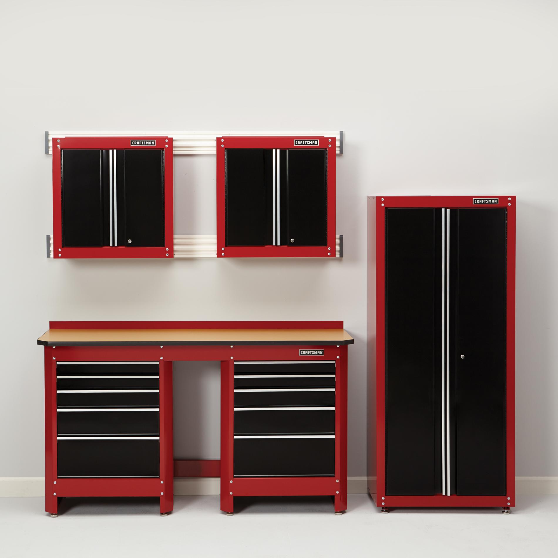 6-Piece Heavy-Duty Garage Organization Collection - Red/Black