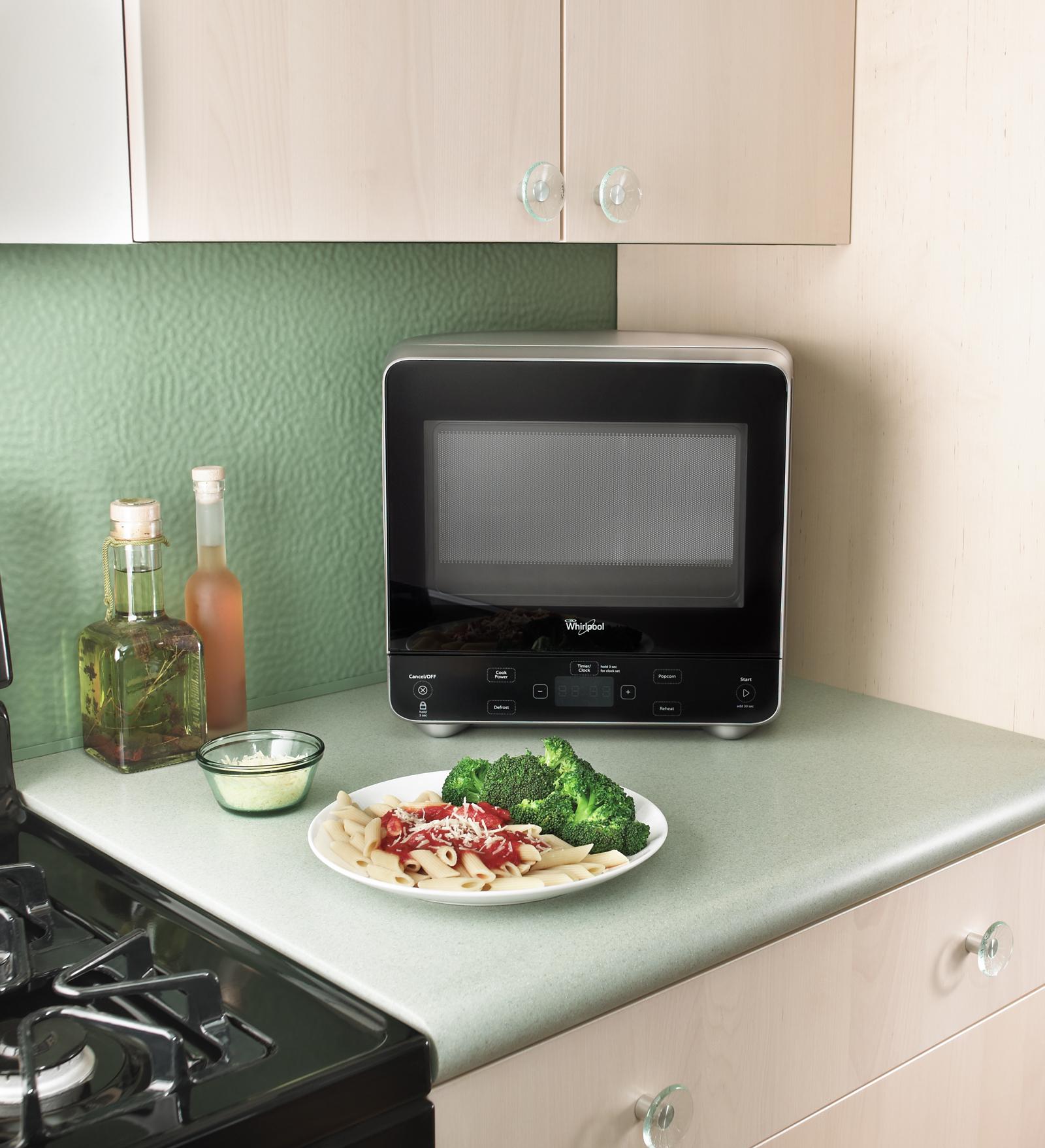 Whirlpool WMC20005YD 0.5 cu. ft. Compact Countertop Microwave w/ Pocket Handle - Silver WMC20005YD