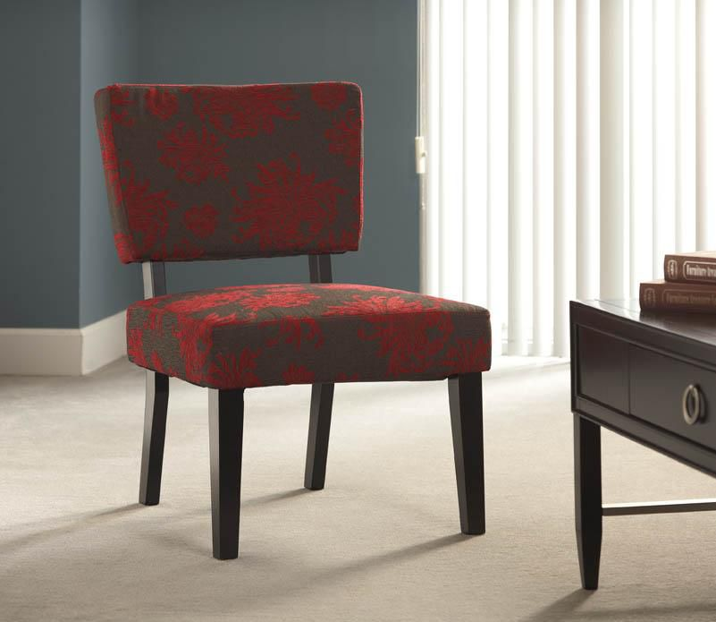 Taylor Accent Chair - Red, Gray, Black Flower
