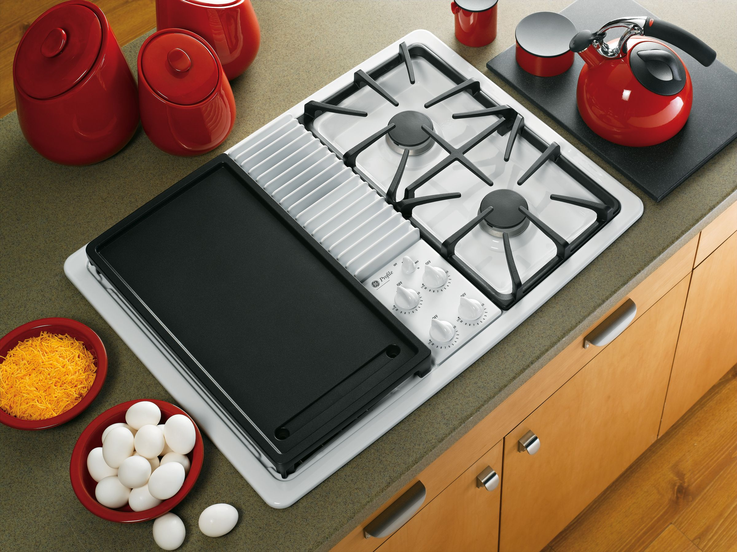 "GE Profile 30"" Built-In Modular Gas Cooktop - White"