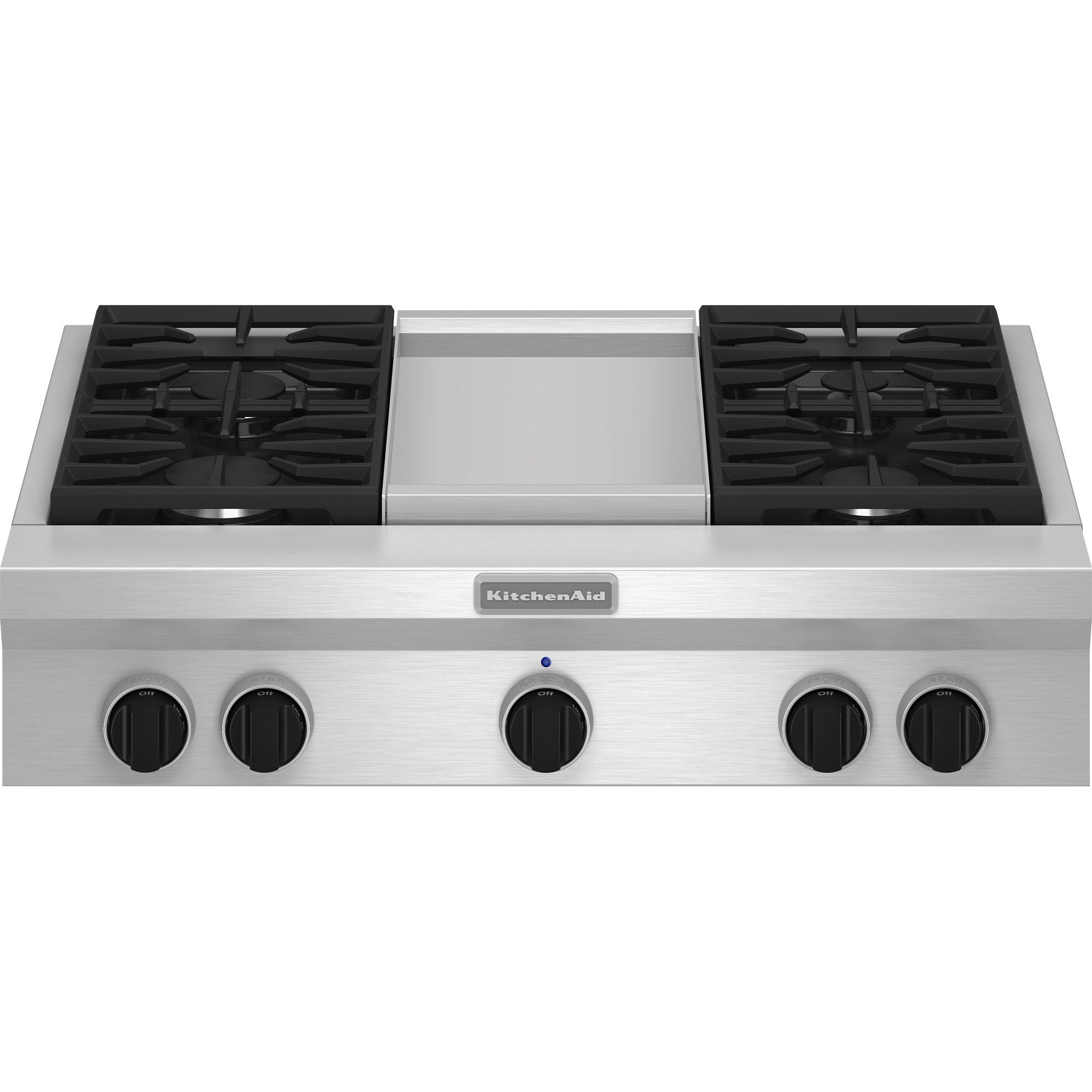 """KitchenAid KGCU463VSS Pro-Style ®36""""  Gas Cooktop Plus Griddle"""