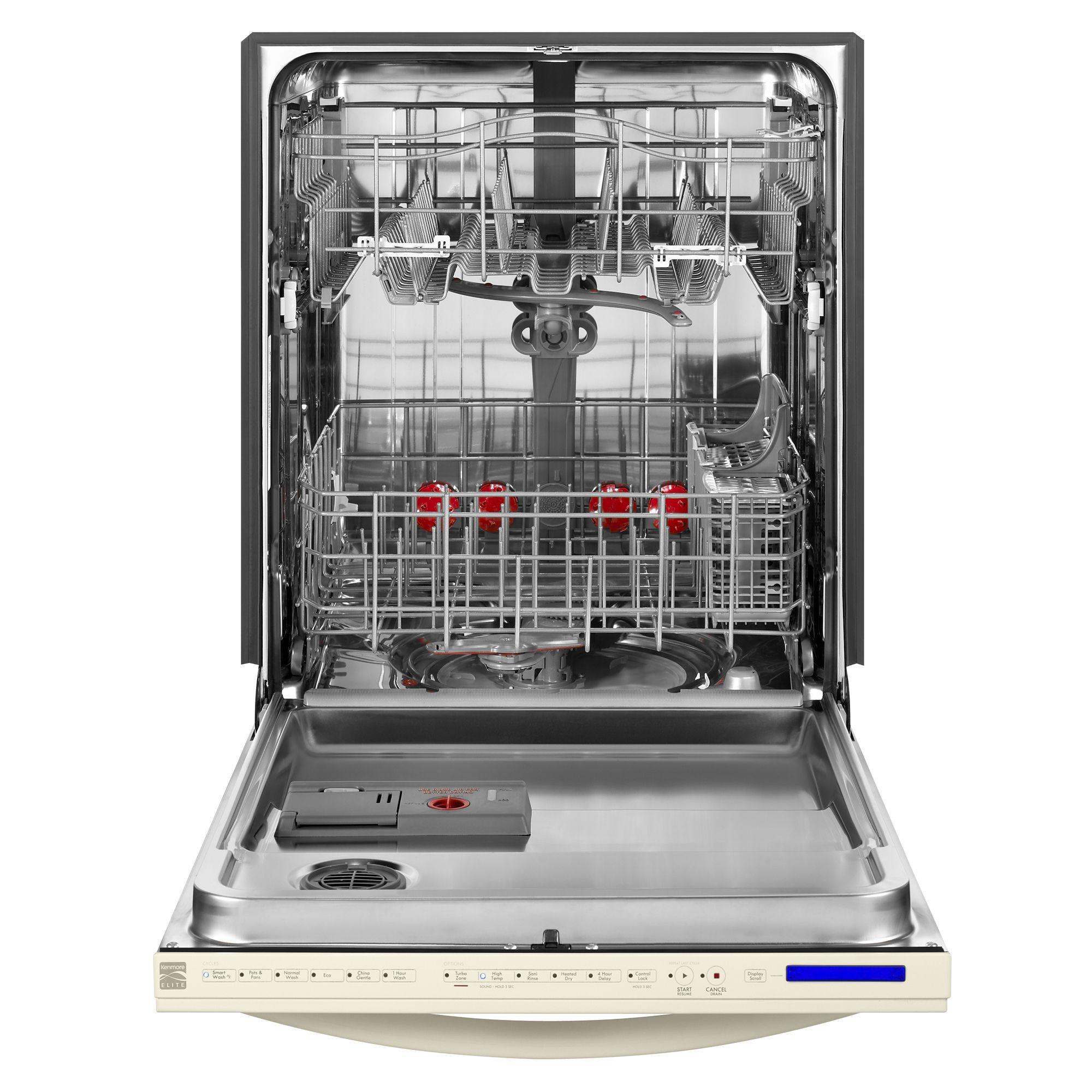"""Kenmore Elite 24"""" Built-In Dishwasher w/ 360 Degree PowerWash Technology - Bisque"""