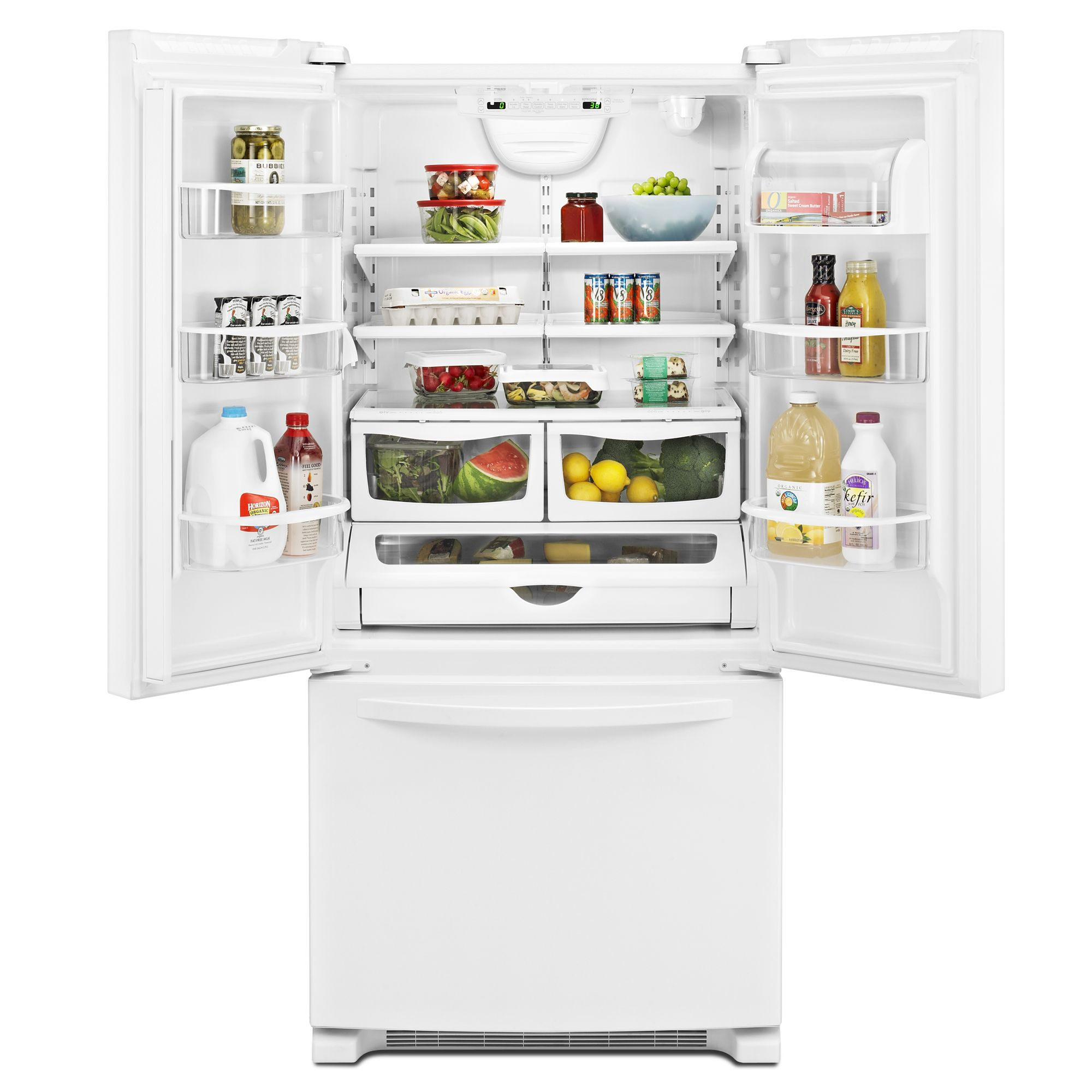 "Kenmore 72002 22 cu. ft. 33"" French-Door Bottom-Freezer Refrigerator w/Internal Dispenser - White"