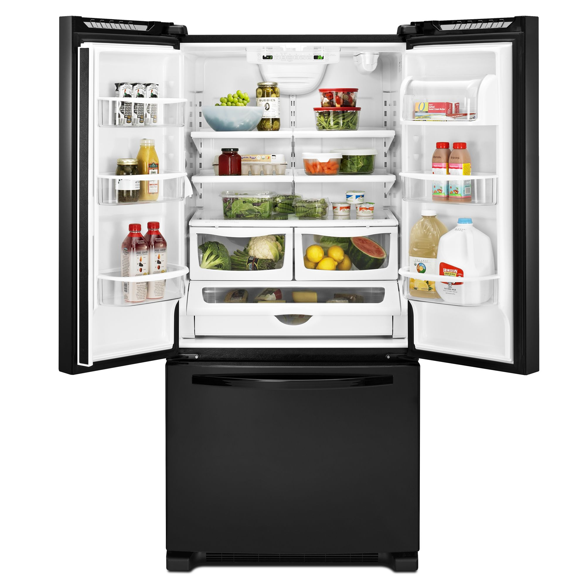 "Kenmore 72009 22 cu. ft. 33"" French-Door Bottom-Freezer Refrigerator w/Internal Dispenser - Black"