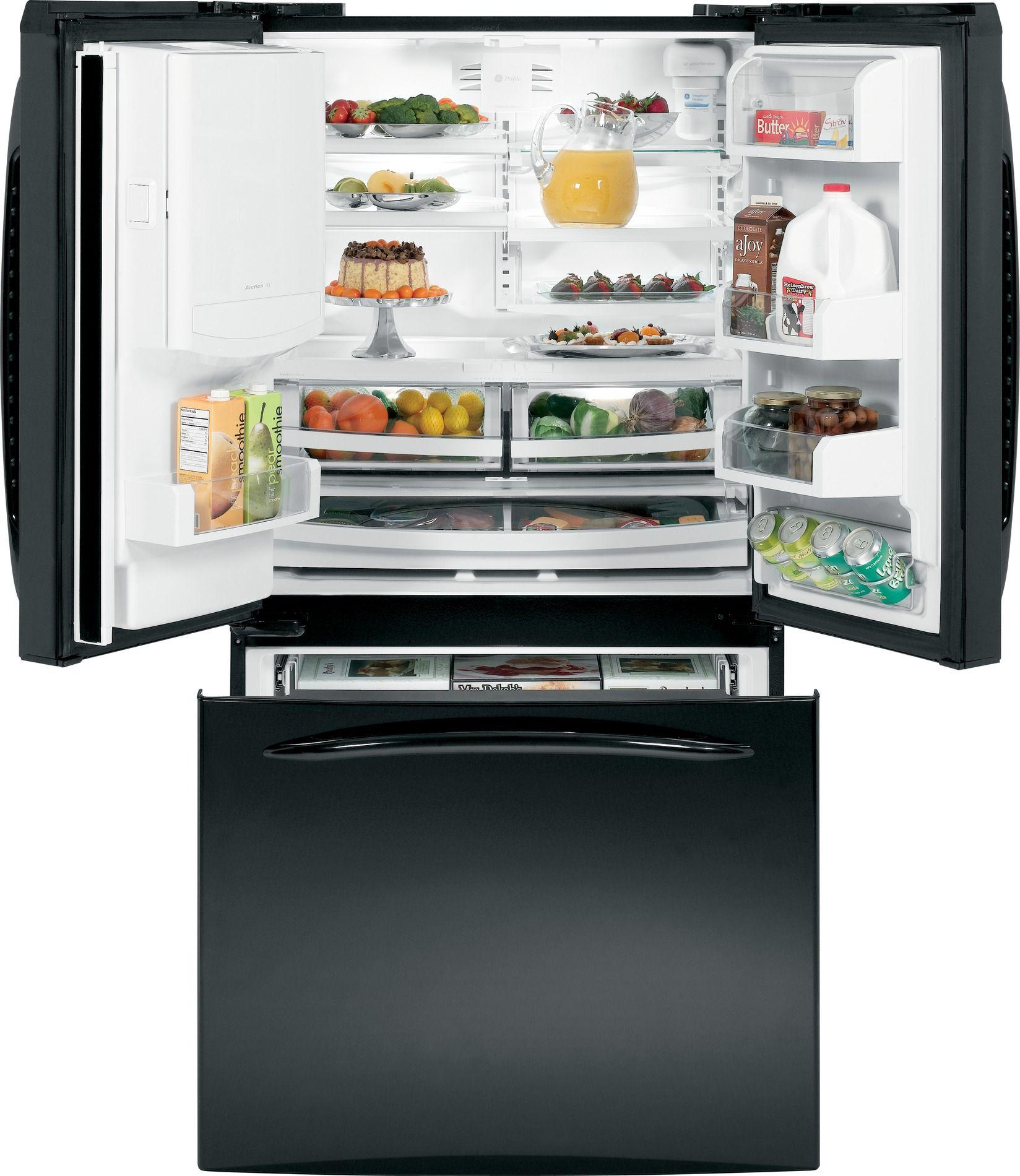 GE Profile™ Series 25.1 cu. ft. French Door Bottom-Freezer Refrigerator Black
