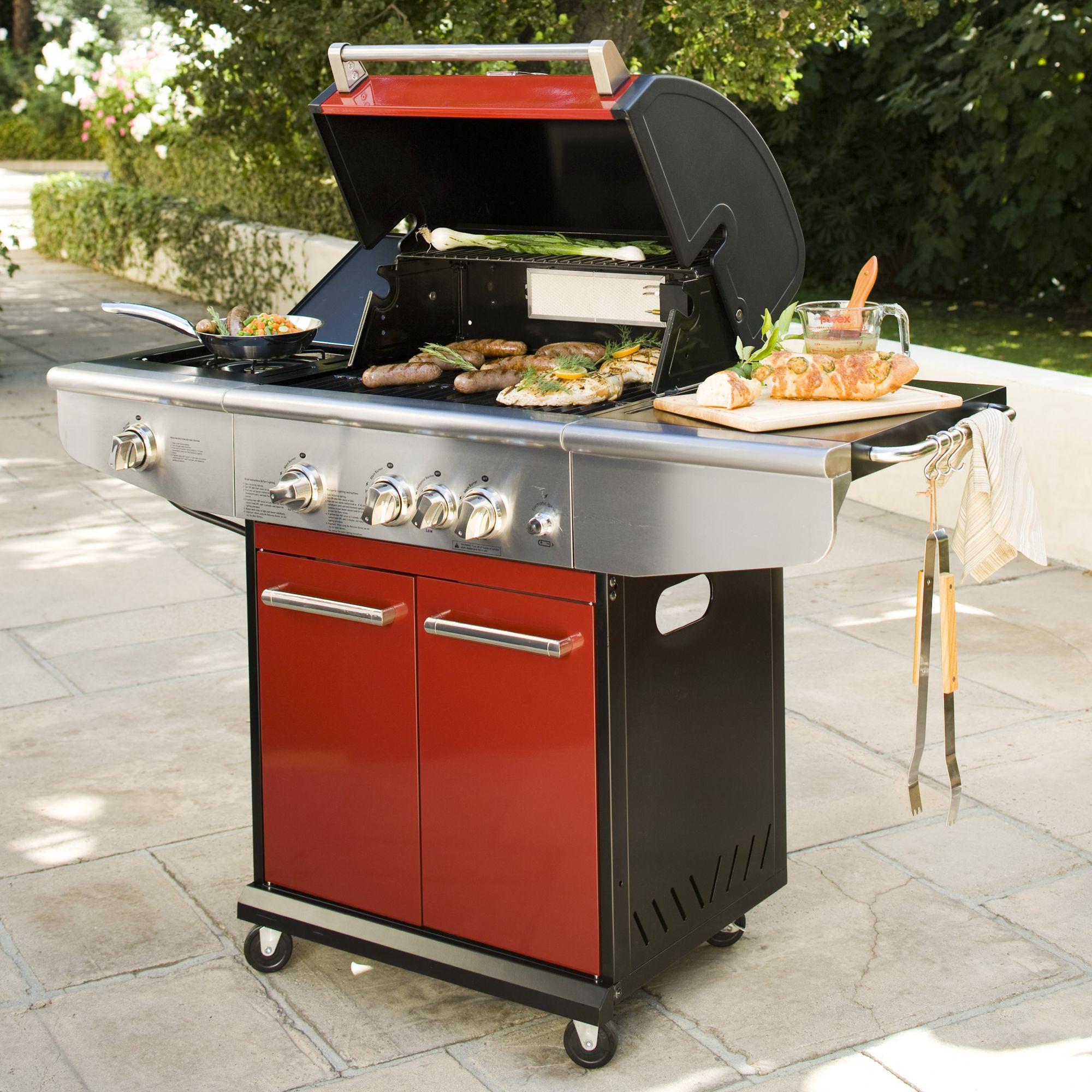 Kenmore 3-Burner Gas Grill with Back Burner - Red