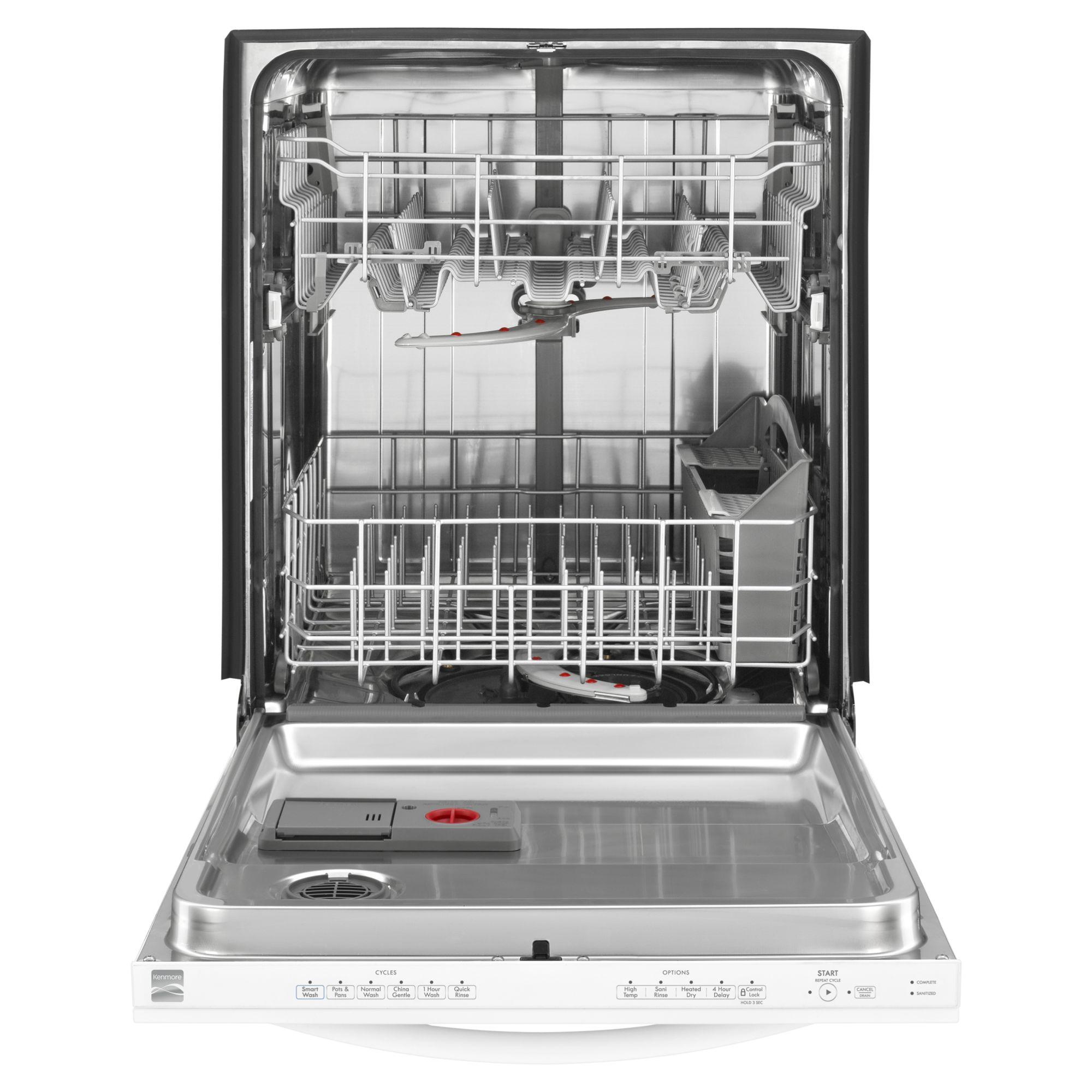 "Kenmore 24"" Built-In Dishwasher w/ Stainless Steel Tub - White"