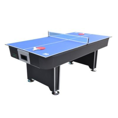 MD Sports 7ft Ice Quake Air Powered Hockey Table with BONUS Table Tennis Top