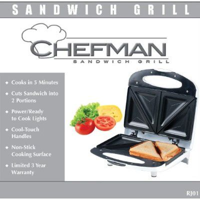 Chefman RJ01 Dual-Sandwich Nonstick Grill