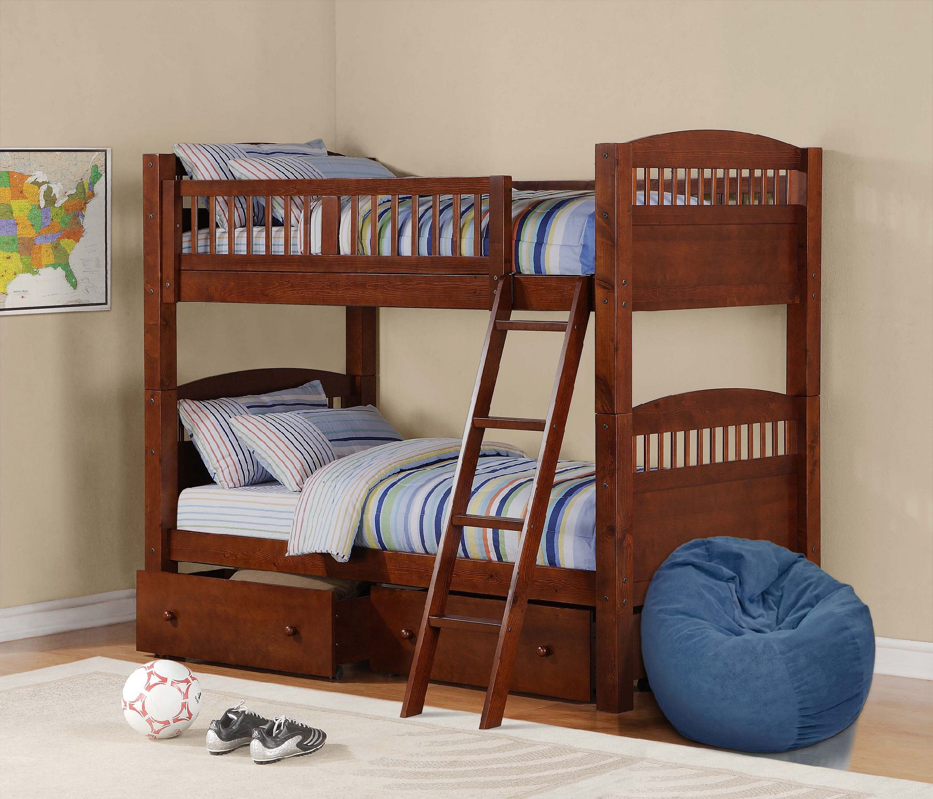 Dorel Home Furnishings Bunk Bed Walnut
