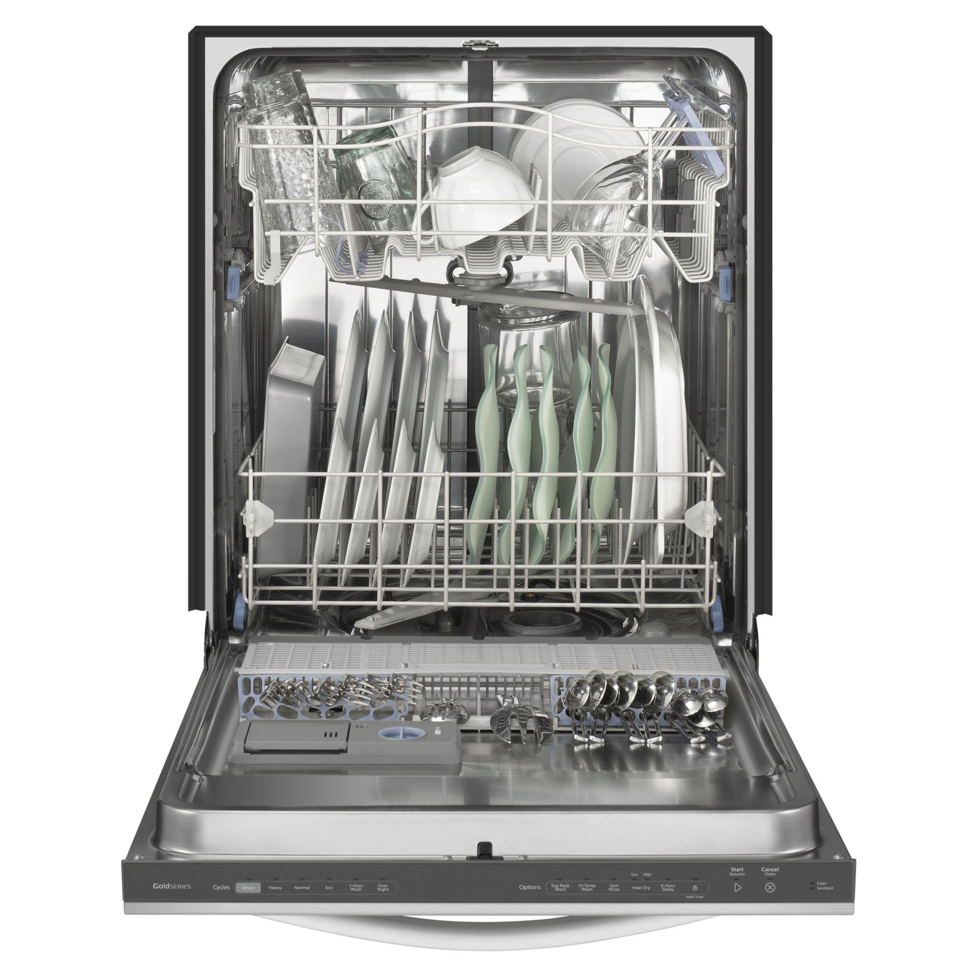 "Whirlpool 24"" Built-In Dishwasher w/ Top Rack Wash Option - Black"