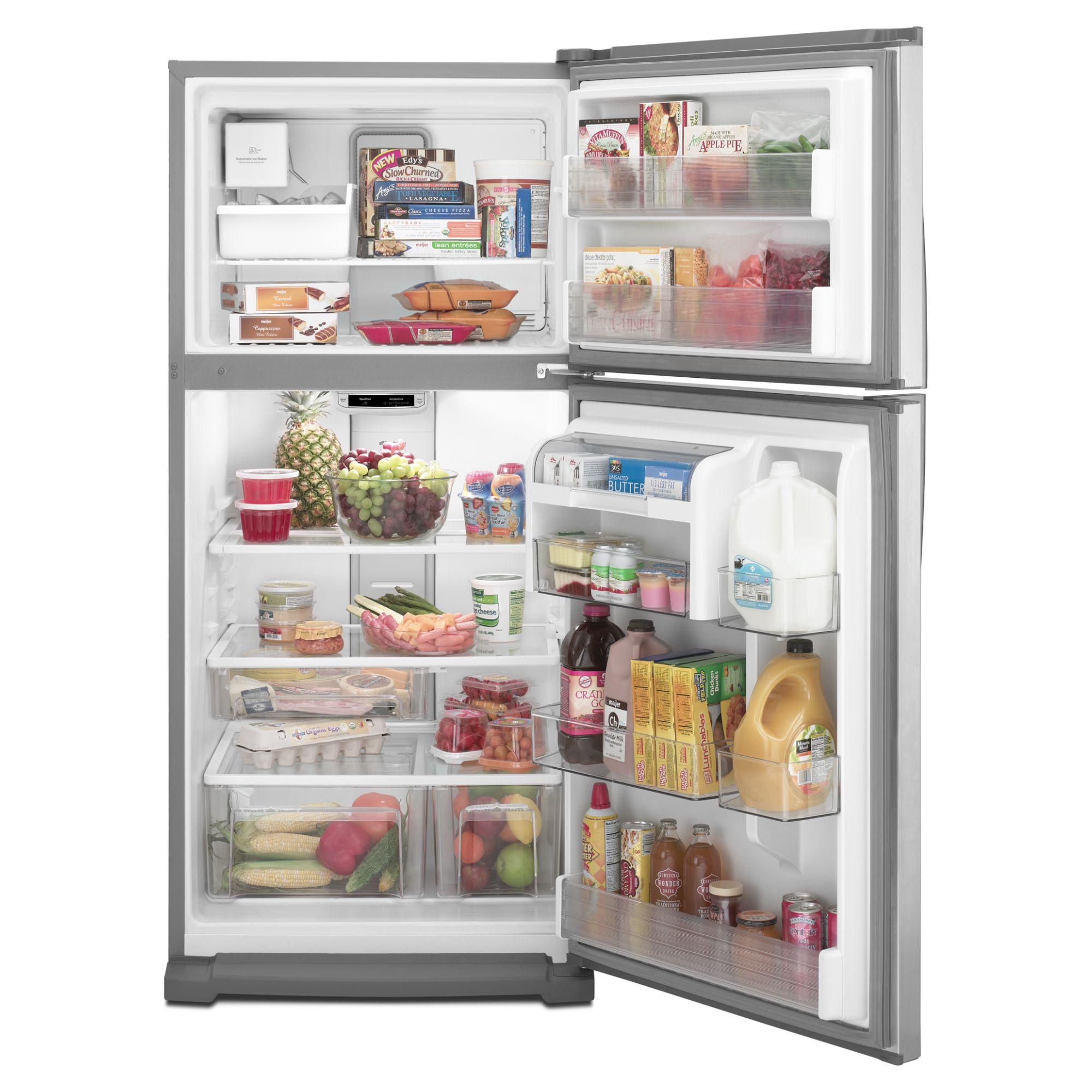 Maytag 18.9 cu. ft. Top-Freezer Refrigerator w/ Strongbox™ Door Bins - Stainless Steel