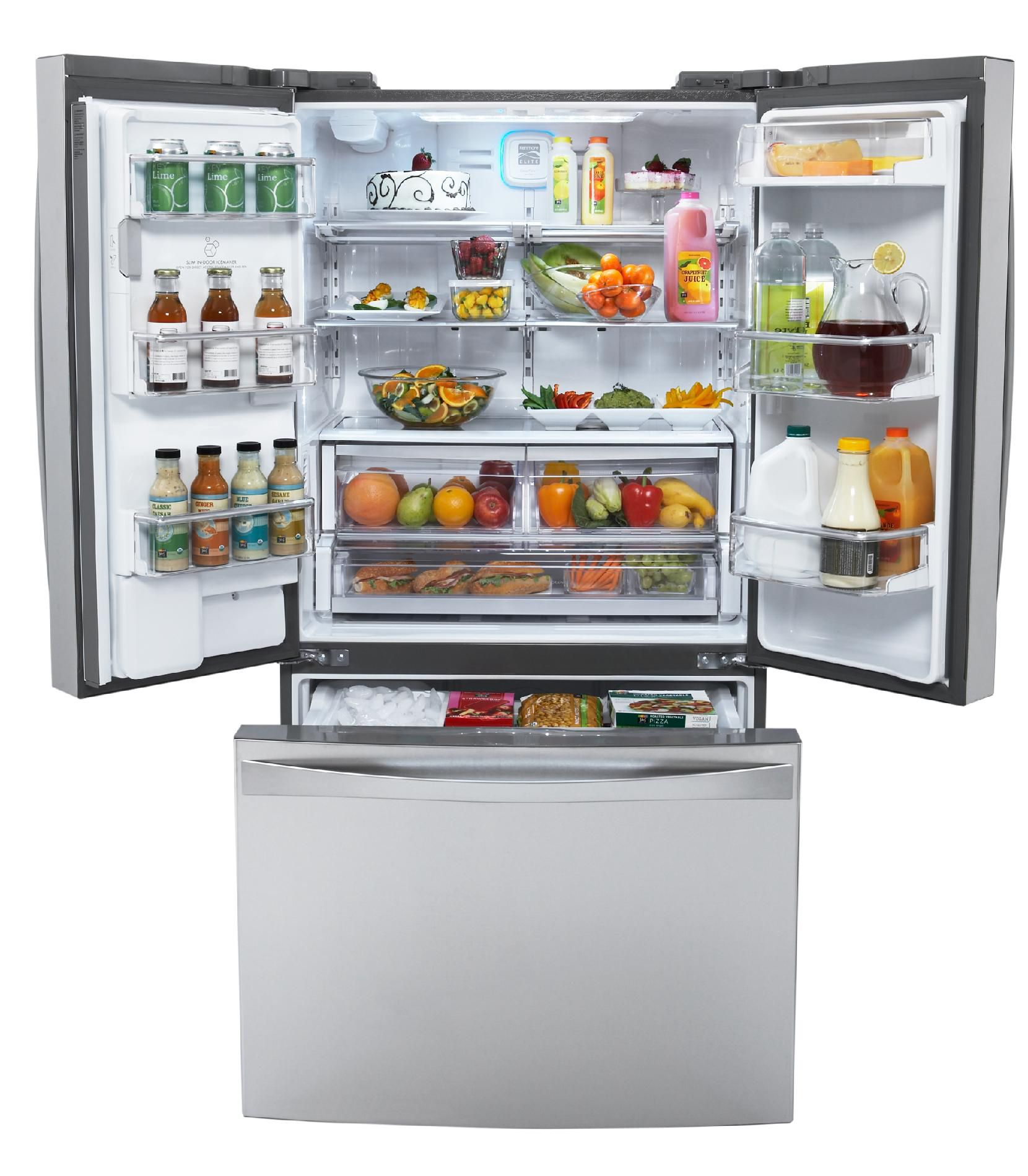 Kenmore Elite 25 cu. ft. Counter-Depth French Door  Bottom-Freezer Refrigerator -Stainless Steel