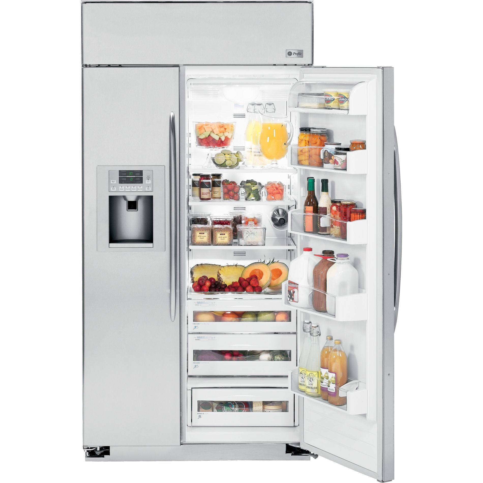 GE Profile™ Series 29.5 cu. ft. Built-In Side-by-Side Refrigerator - Stainless Steel