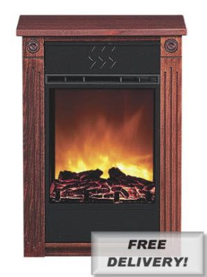 Heat Surge Accent Electric Fireplace with Amish-made Wood Mantle - Cherry
