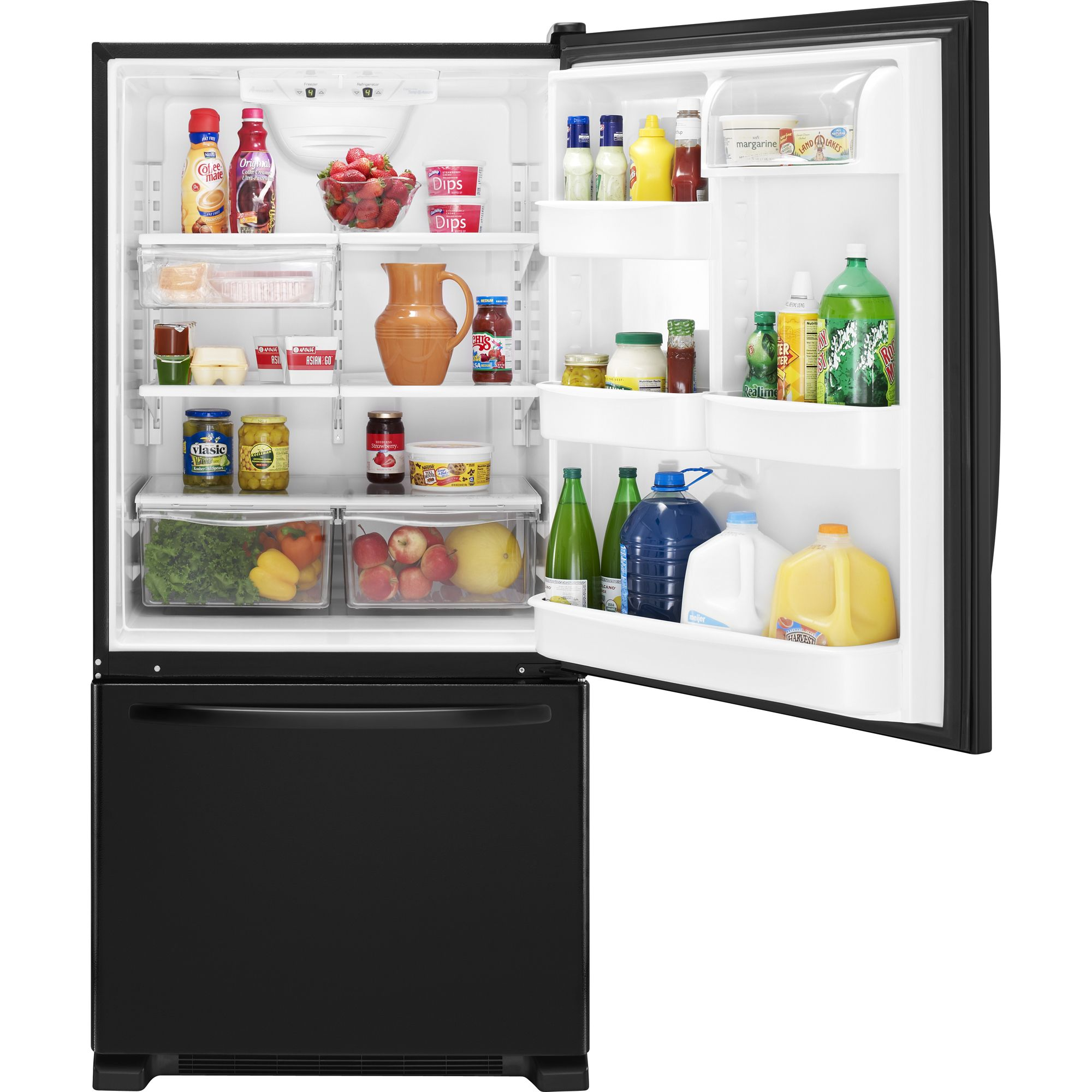 Amana 21.9 cu. ft. Single Door Bottom Freezer Refrigerator - Black
