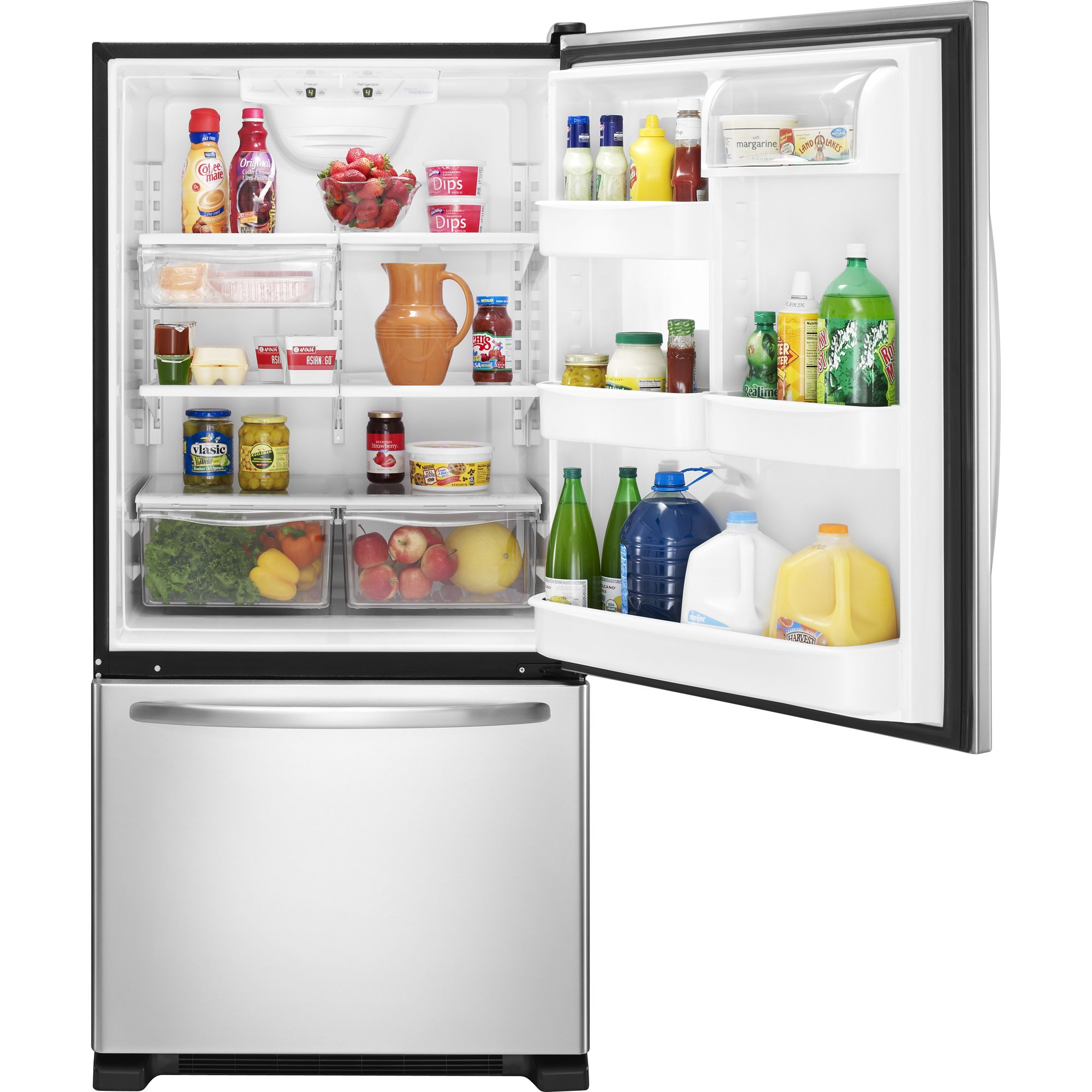 Amana 18.5 cu. ft. Single Door Bottom Freezer Refrigerator - Stainless Steel