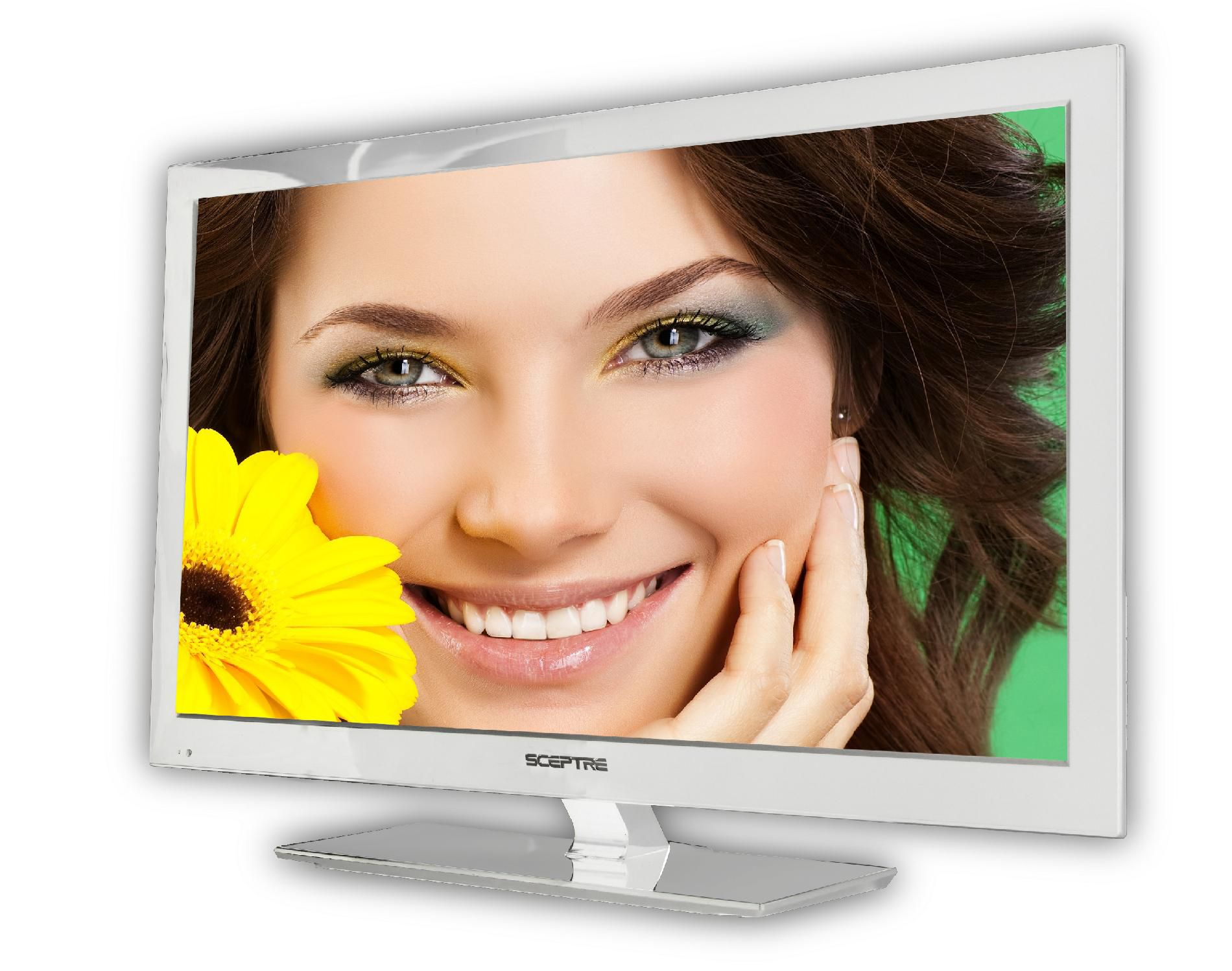 Sceptre E243WV-FHD 23 White 1080P LED HDTV 5ms, 3x HDMI, 1920x1080 Resolution, 250cd/m2 Brightness, USB