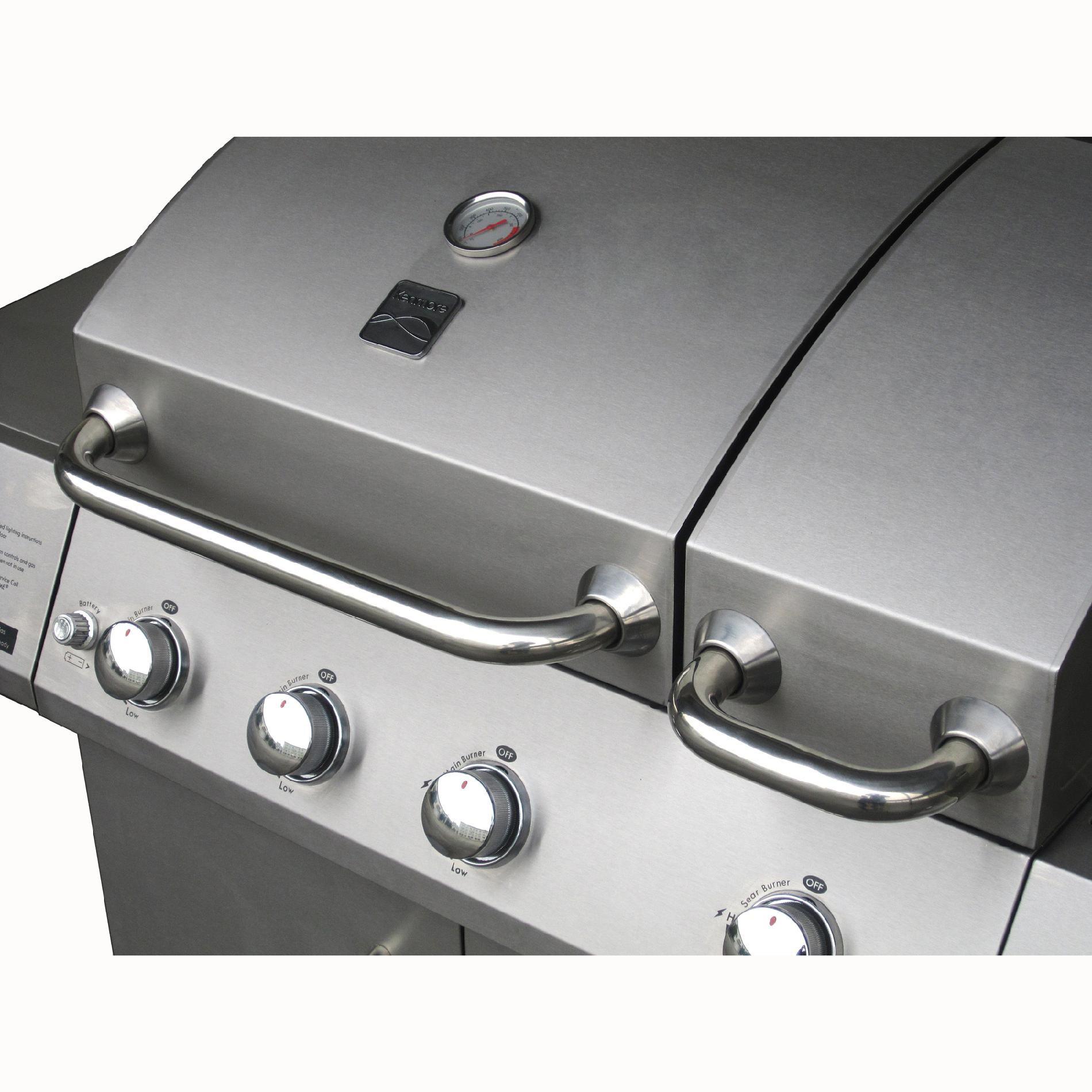 Kenmore 4-Burner Split Lid Gas Grill with Side Burner
