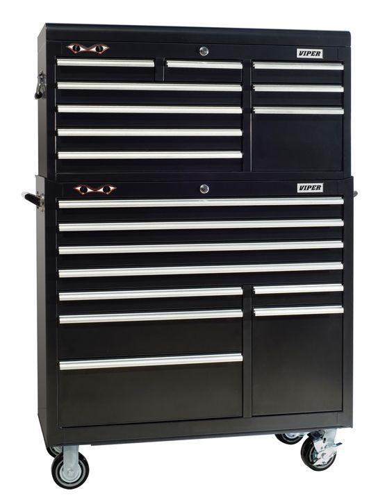 Viper Tool Storage 41-inch 9 Drawer 18G Steel Top Chest, Black