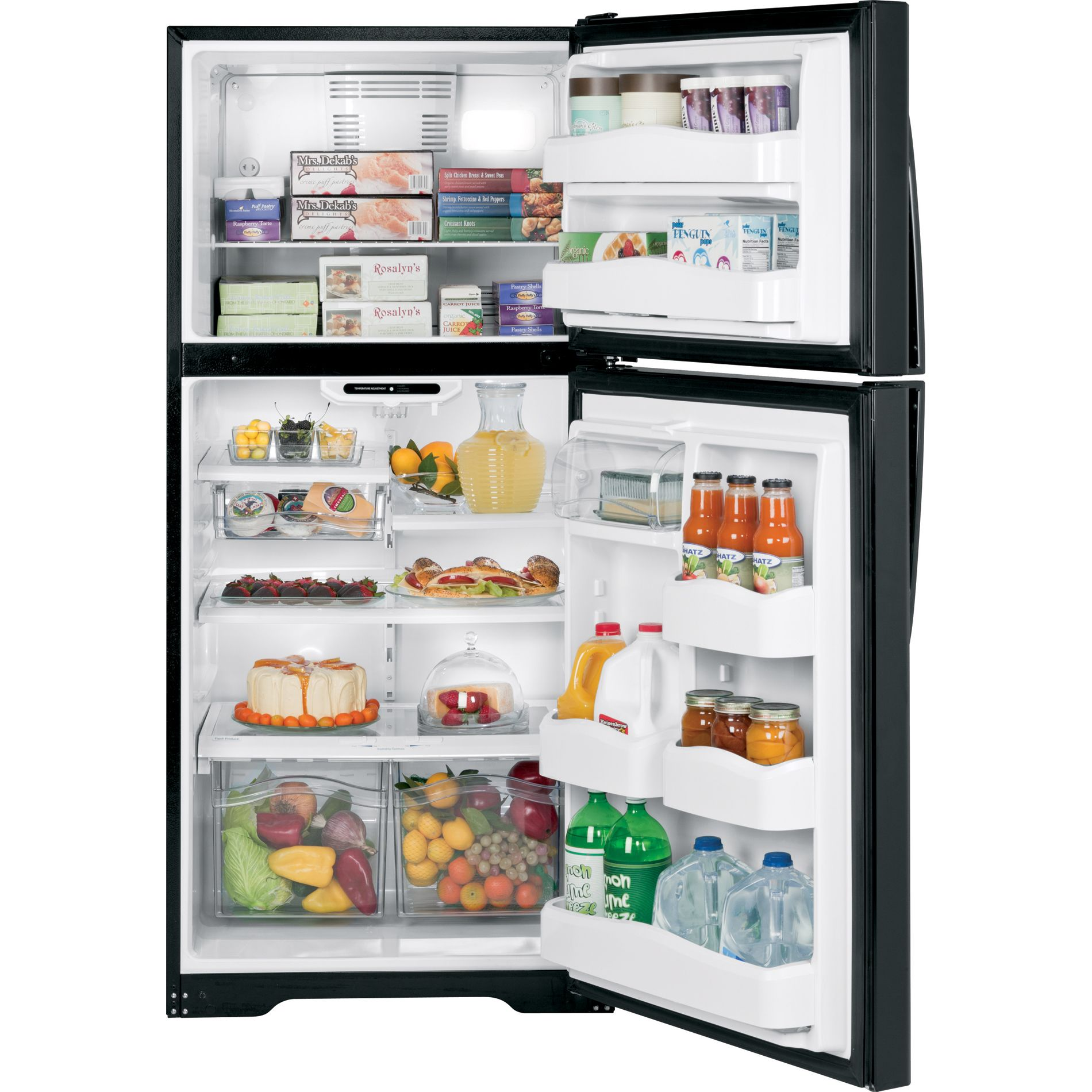 GE 20.0 cu. ft. Top Freezer Refrigerator - Black