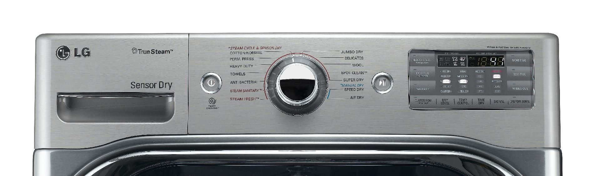 LG 9.0 cu. ft. Mega-Capacity Steam  Gas Dryer w/ Sensor Dry  - Graphite Steel