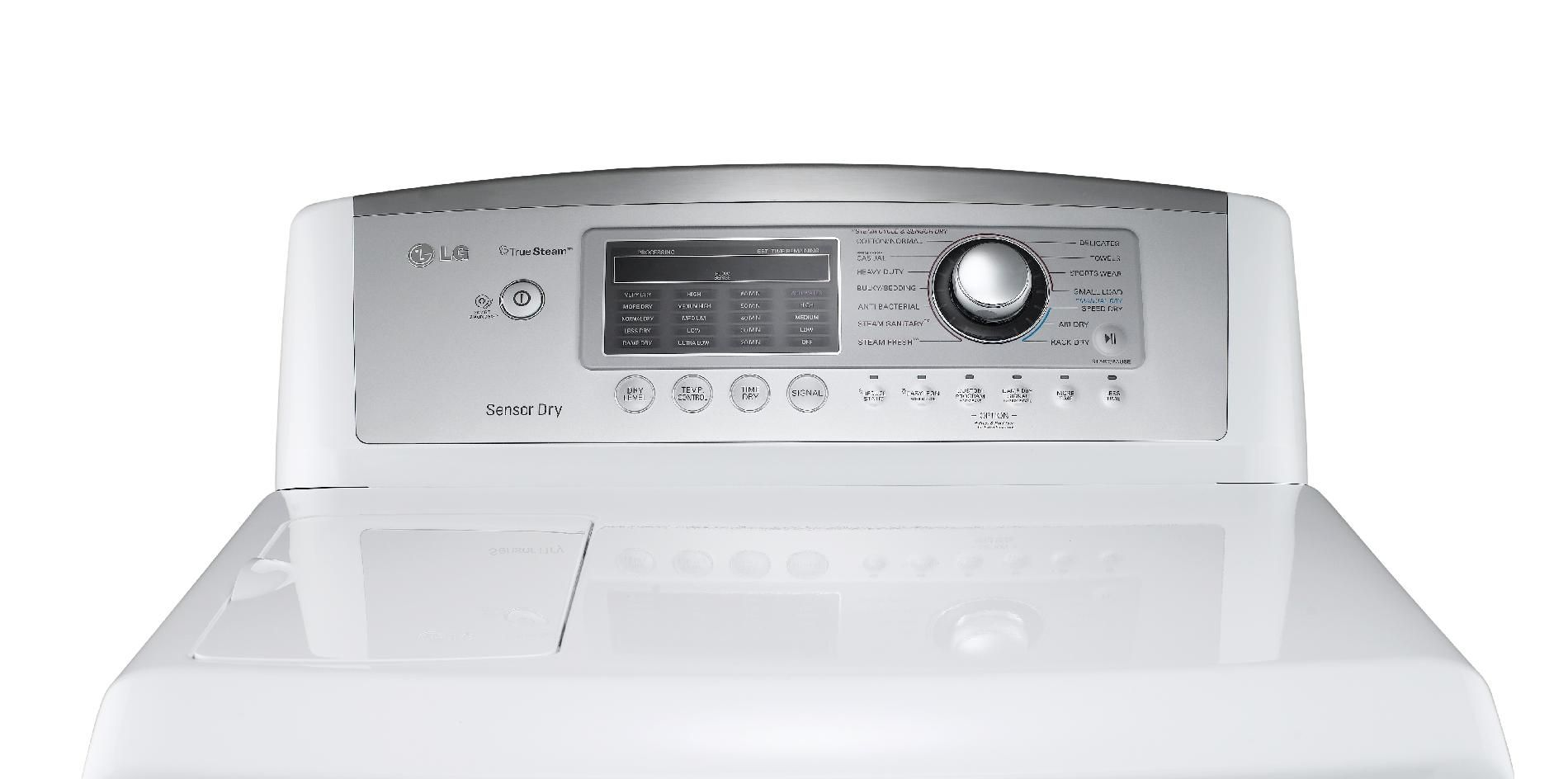 LG 7.3 cu. ft. Ultra Large Capacity Gas Steam Dryer™ with Sensor Dry - White