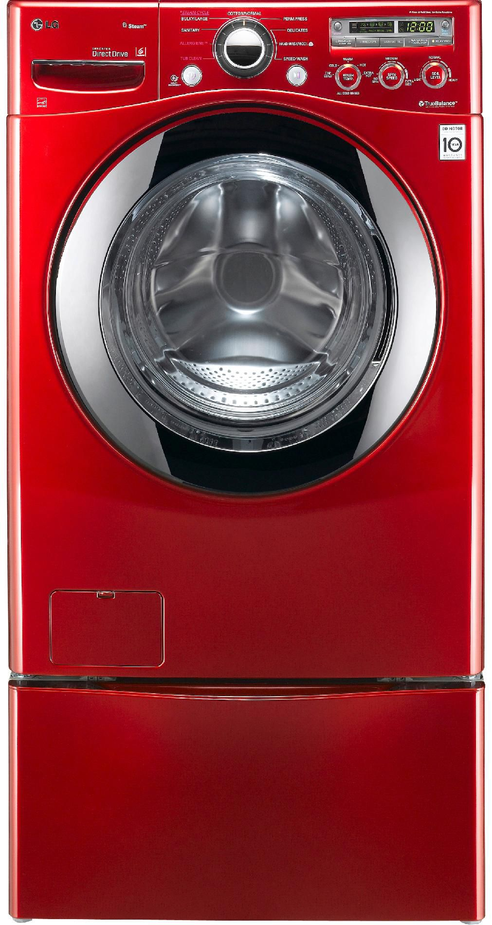 LG 3.6 cu. ft. Extra Large Capacity Steam Front-Load Washer with w/Cold Wash™ - Red