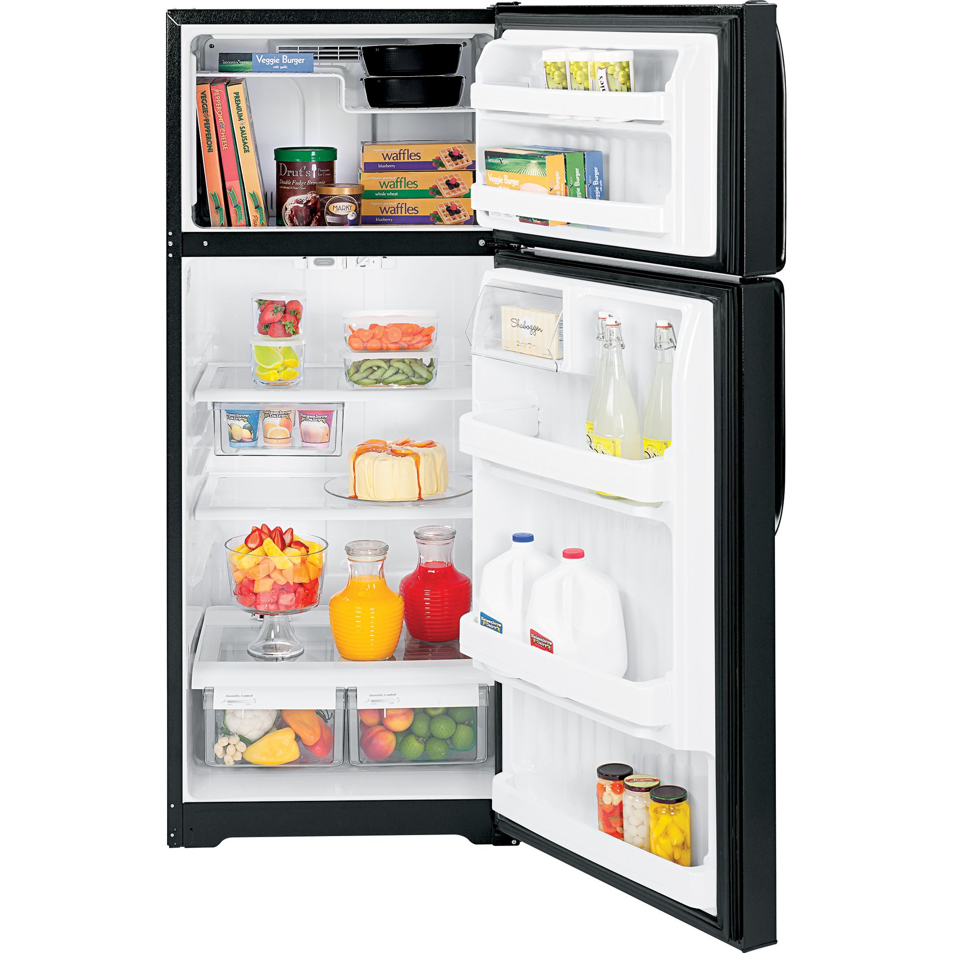 GE 18.1 cu. ft. Top Freezer Refrigerator - Black