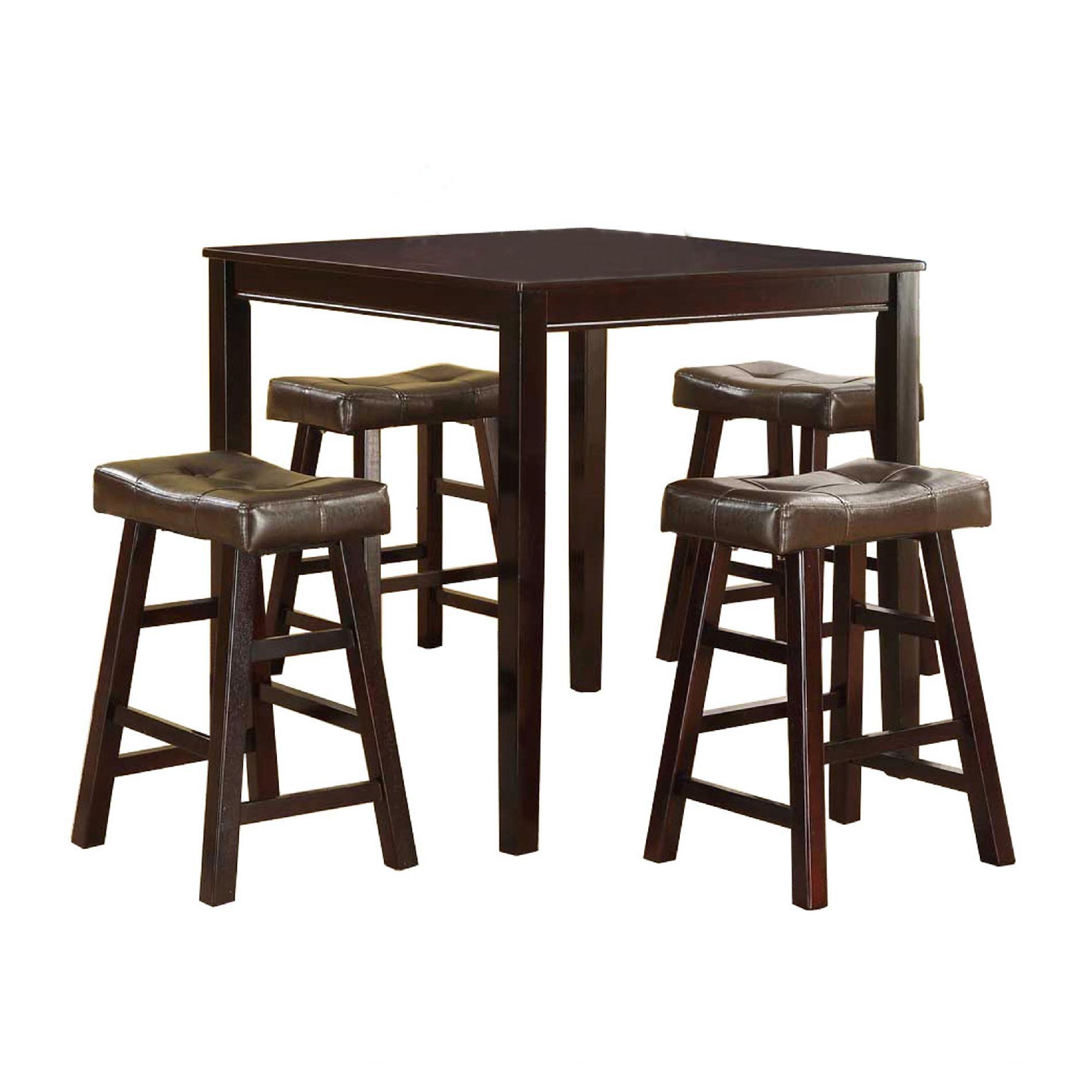 5pc Saddle Pub Set with Tufted Seats