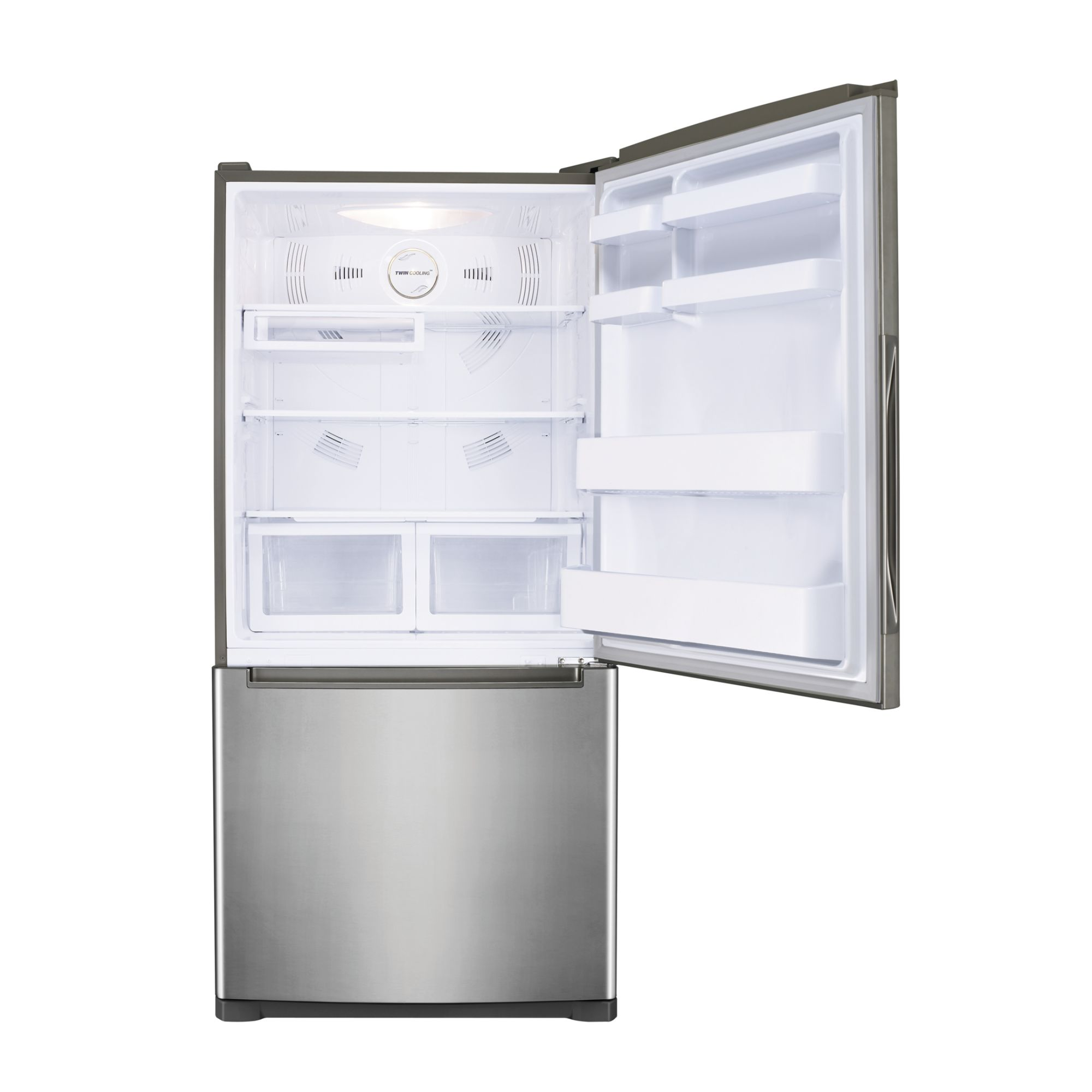 Samsung 18 cu. ft. Bottom Freezer w/ Side Swing Freezer Door - Stainless Platinum