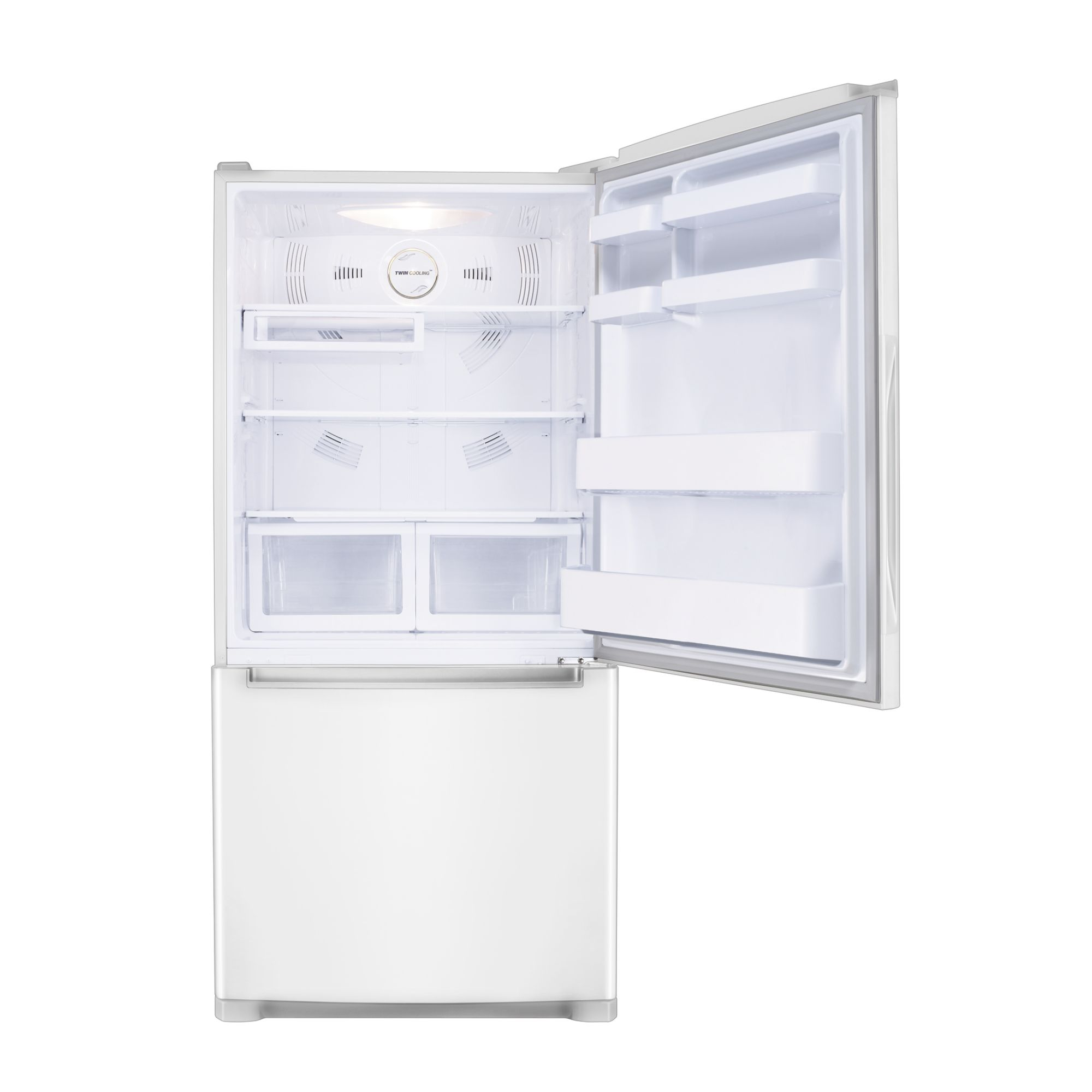 Samsung 18 cu. ft. Bottom Freezer w/ Side Swing Freezer Door - White