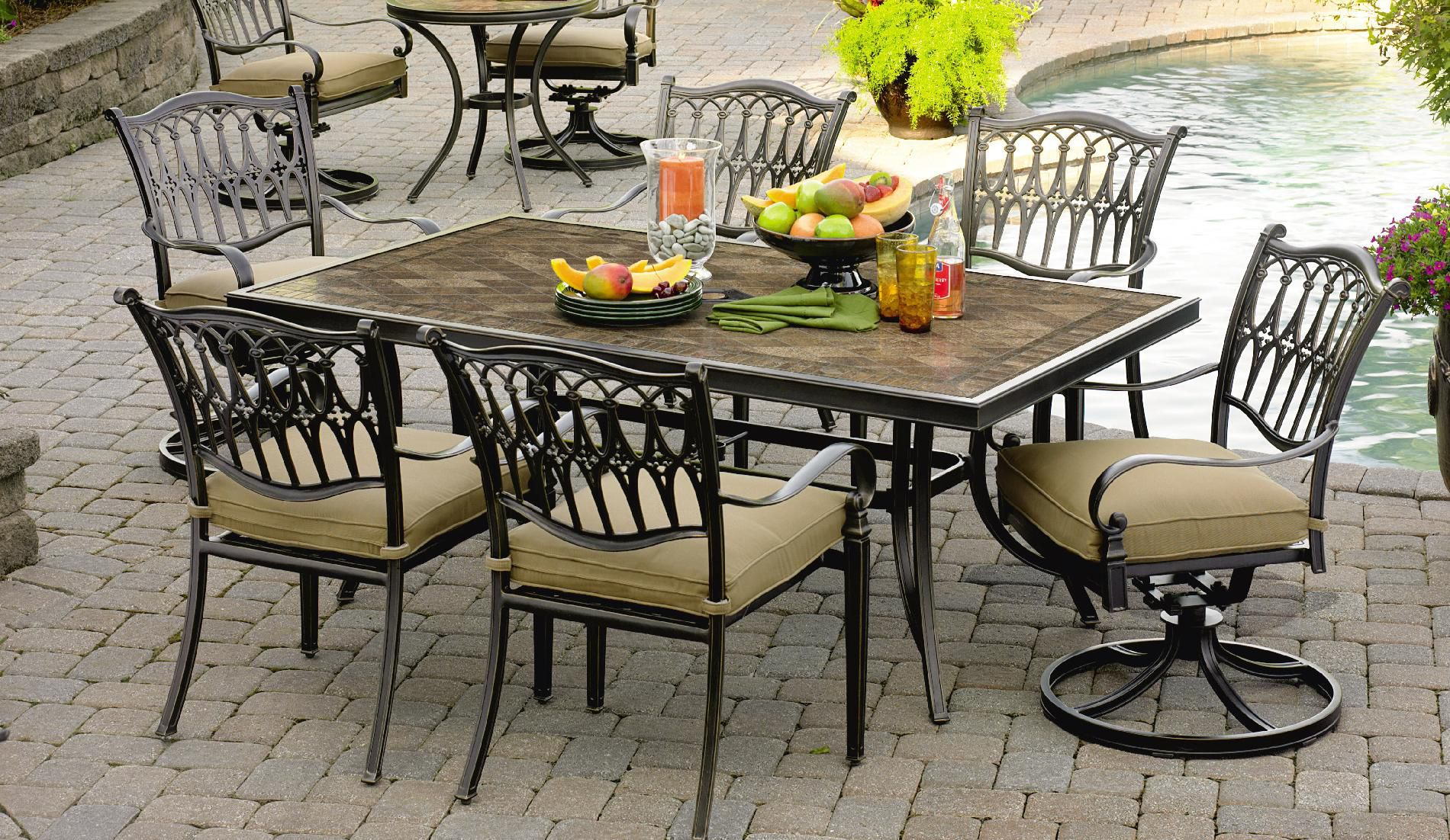 Agio Balmoral 7 Pc. Porcelain Tile Top Dining Set