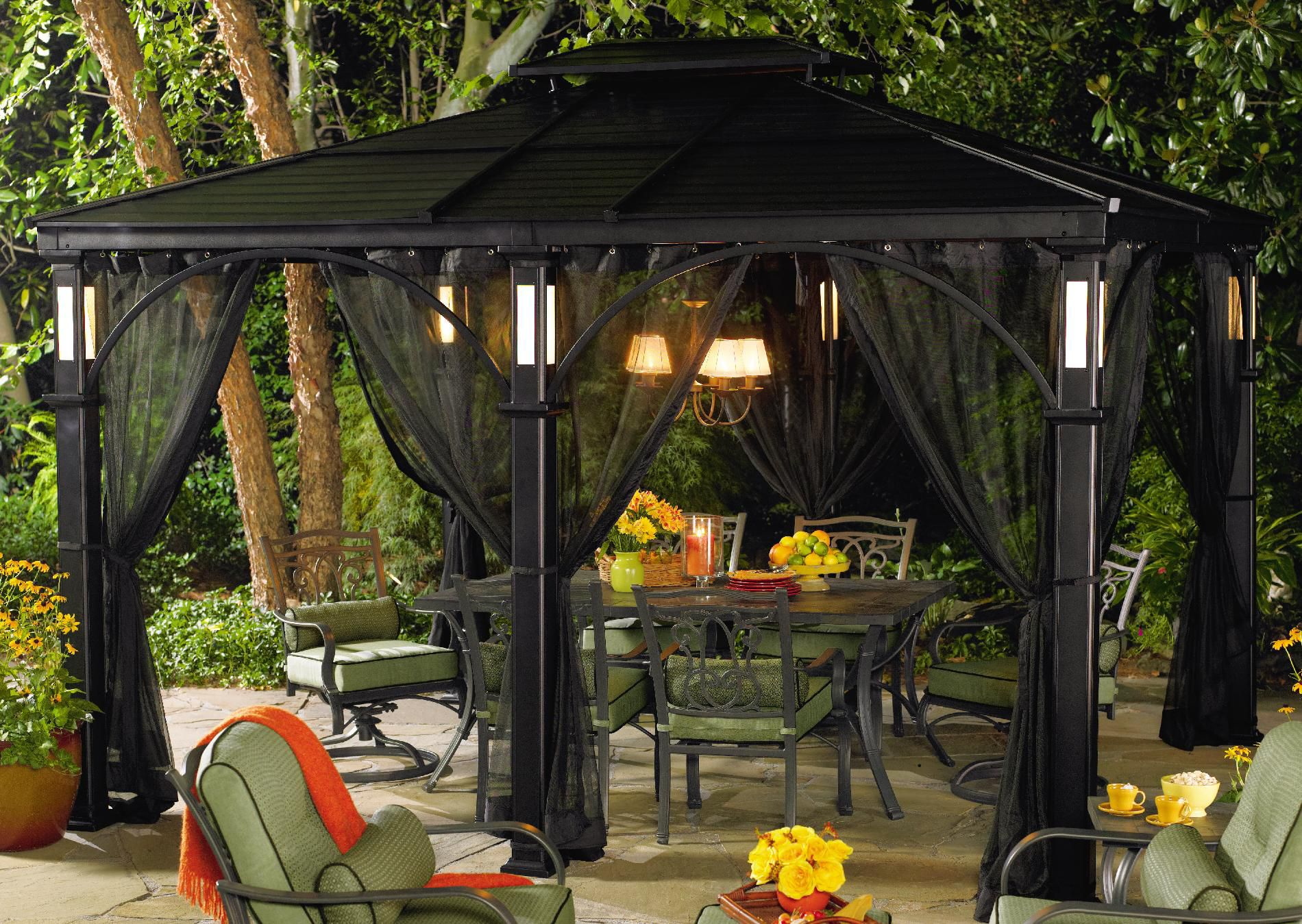 Grand Resort 10 Ft. x 12 Ft. LED & Aluminum Roof Top Gazebo*