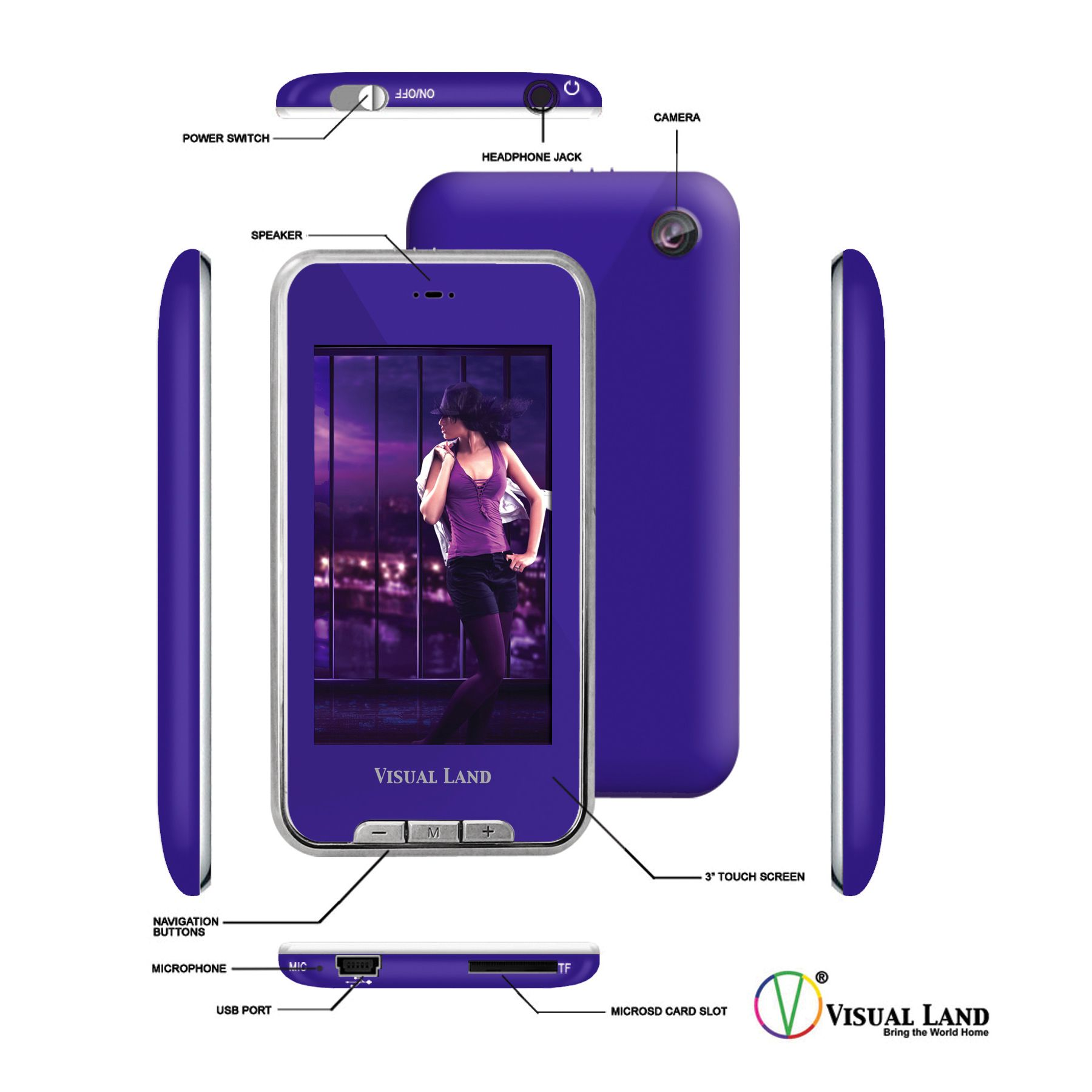 "Visual Land V-Touch Pro 3"" Touch Screen Media Player w/ 2MP Camera ME-975L-8GB-PRP"
