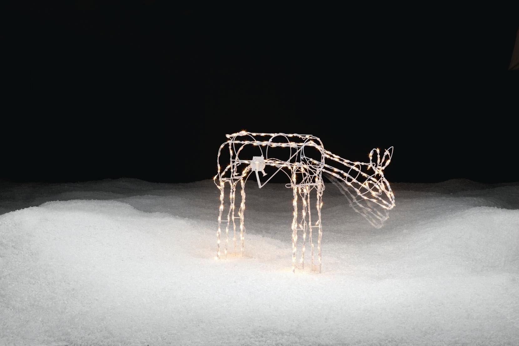 Trim A Home® 33in Lighted Animated White Wire Standing Deer Christmas Decoration