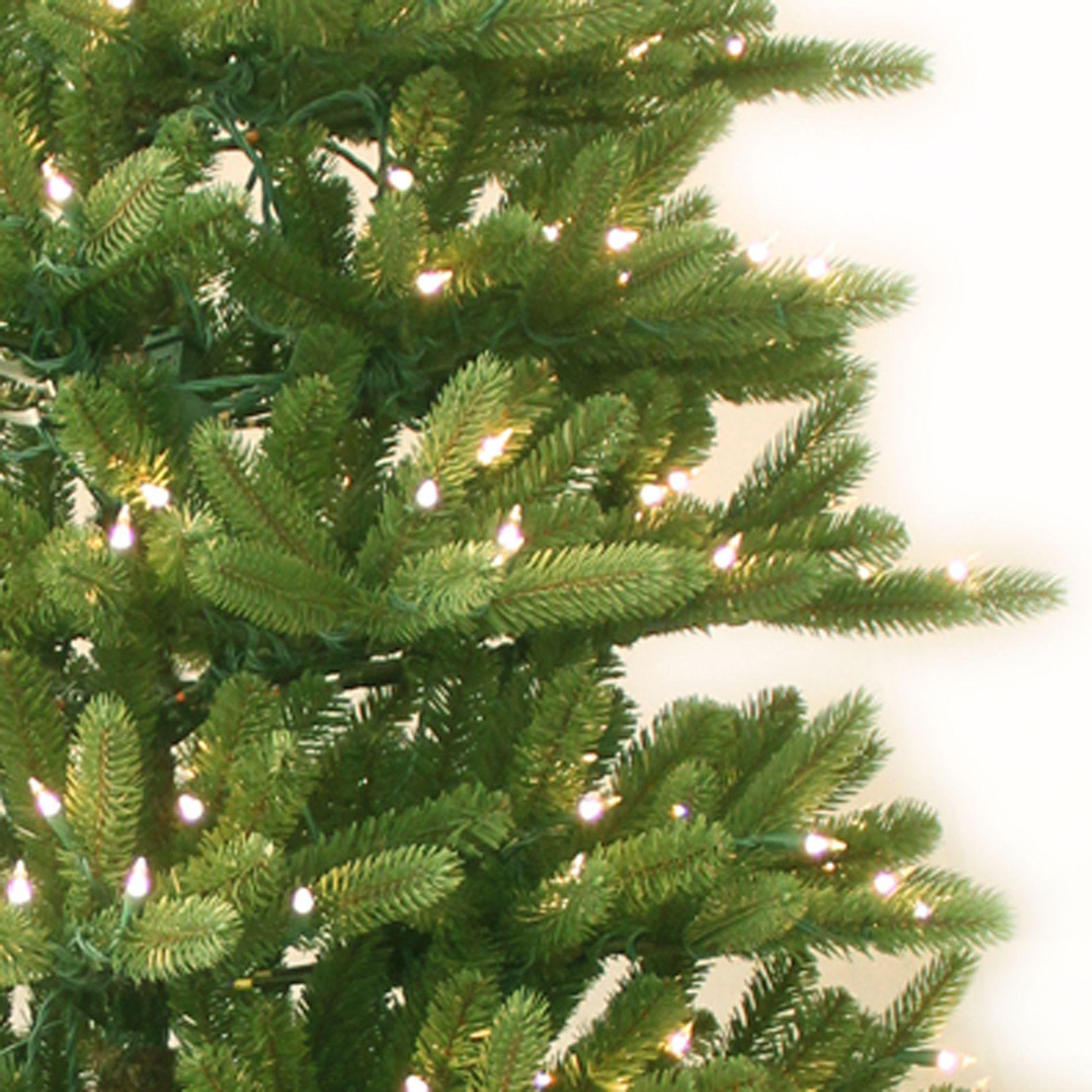 GE 7.5 Ft Clear Pre-Lit Just Cut Natural Frasier Fir Slim Artificial Christmas Tree