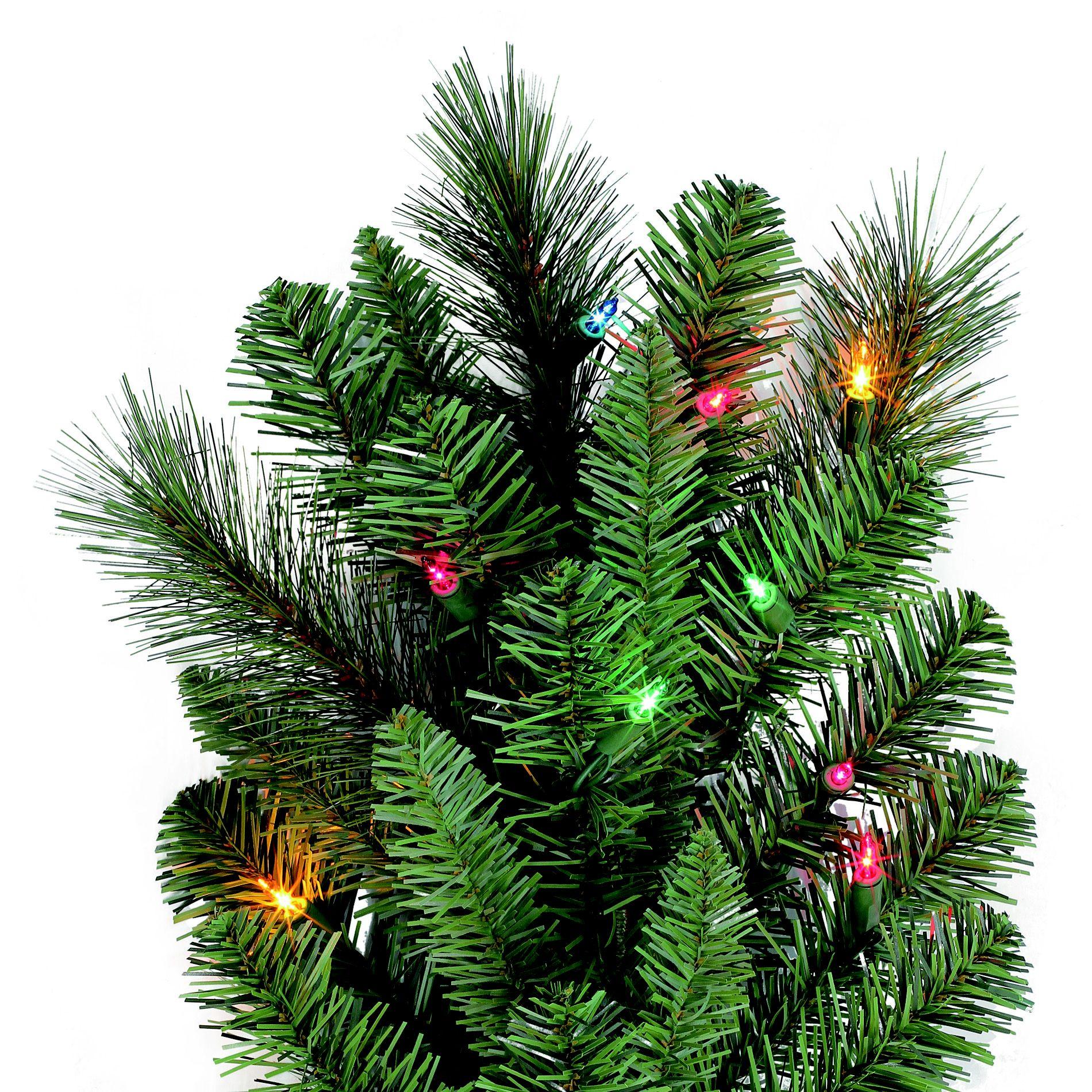 9 Ft Pre-Lit Multi-Colored Light Aspen Mountain Slim Pine Artificial Christmas Tree