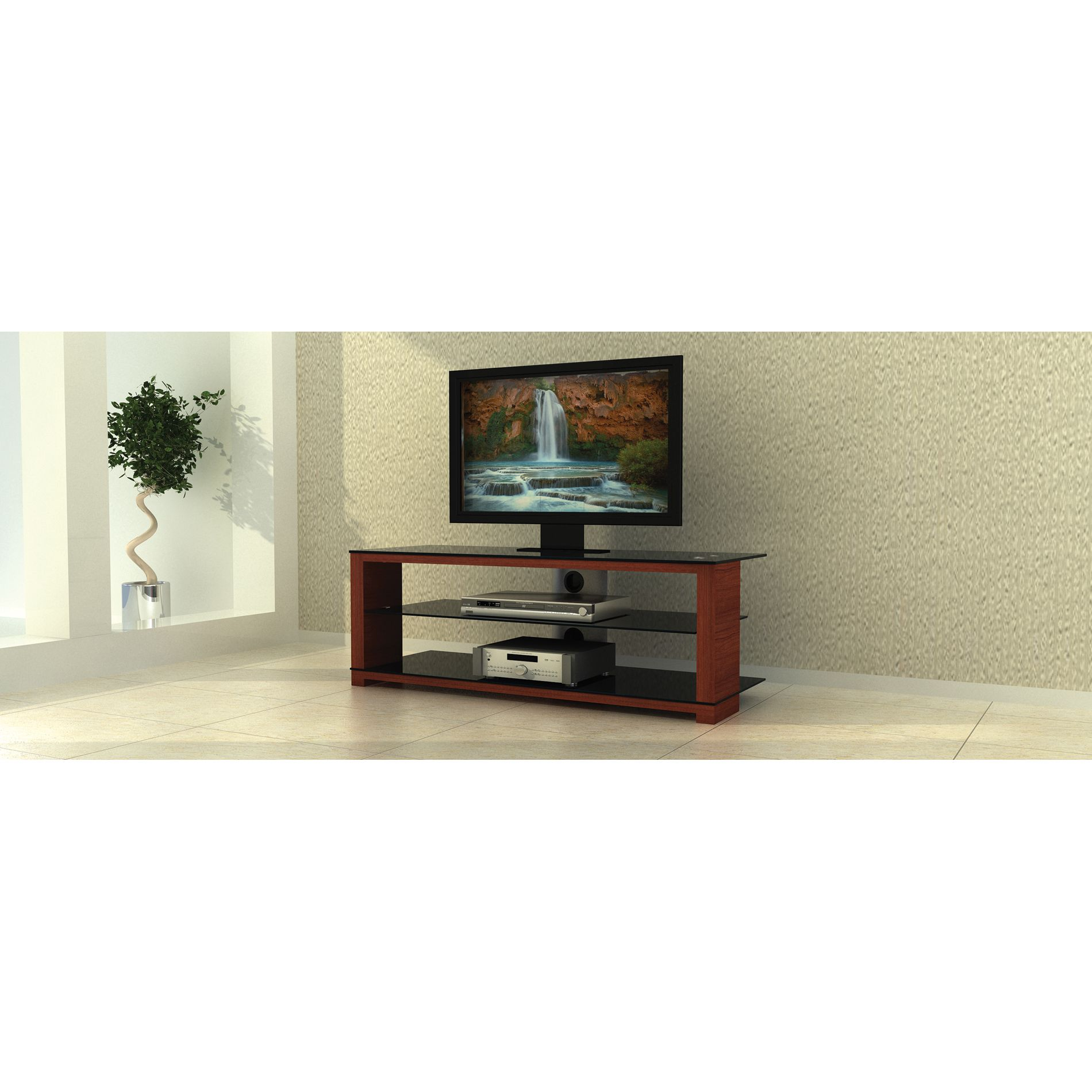Alphaline™ Wood, Glass and Metal TV Stand