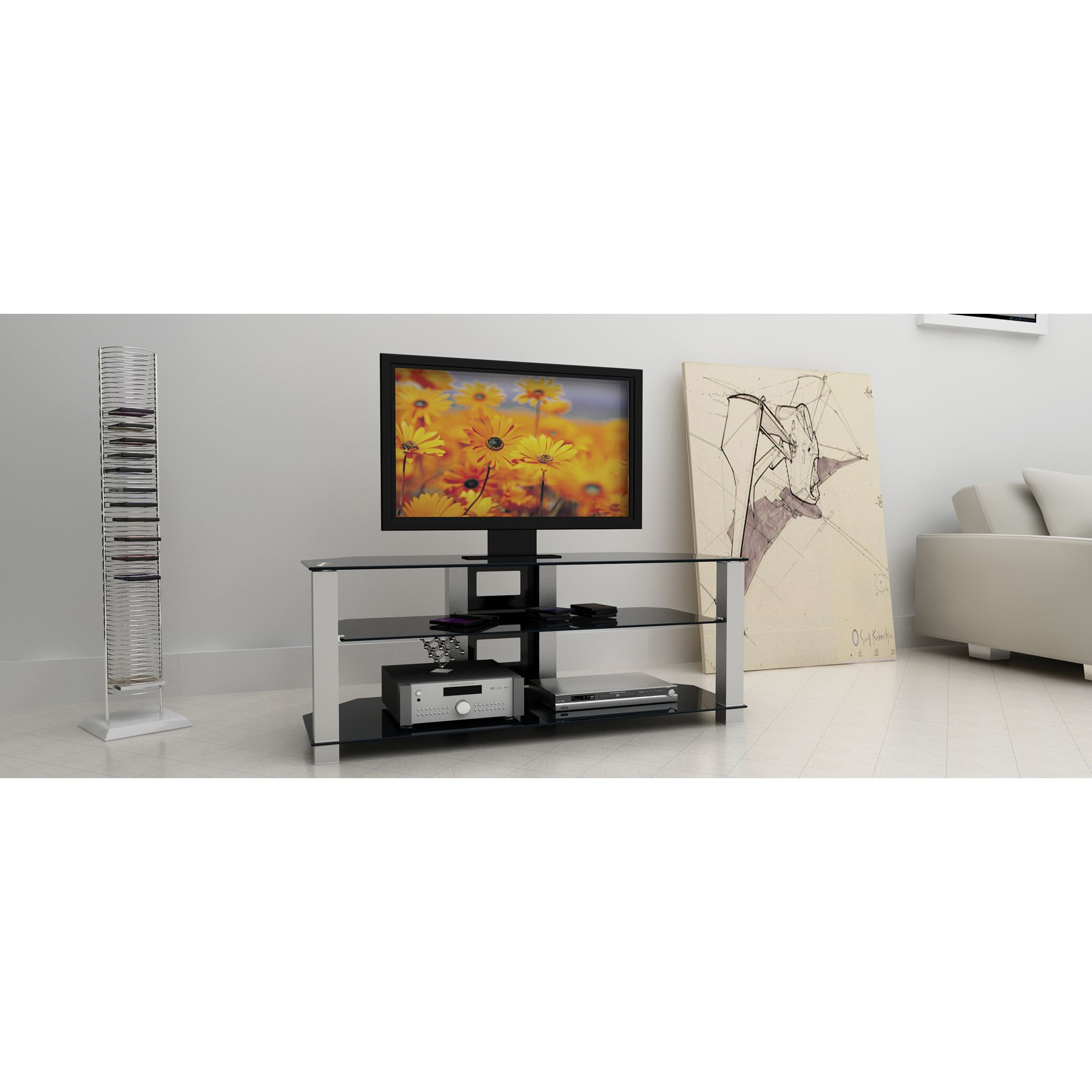 Alphaline™ Glass and Metal TV Stand