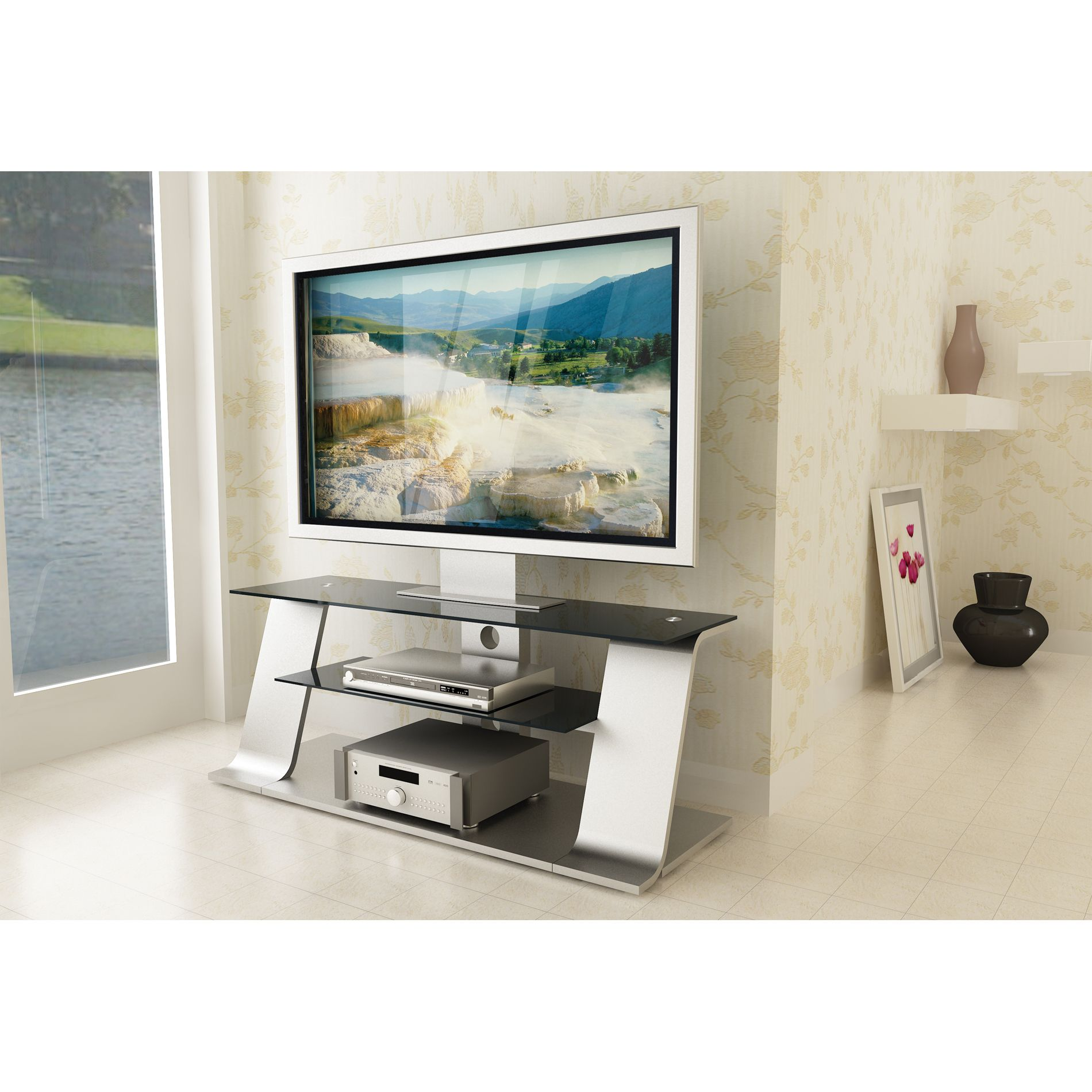 Alphaline™ Silver Metal and Glass TV Stand