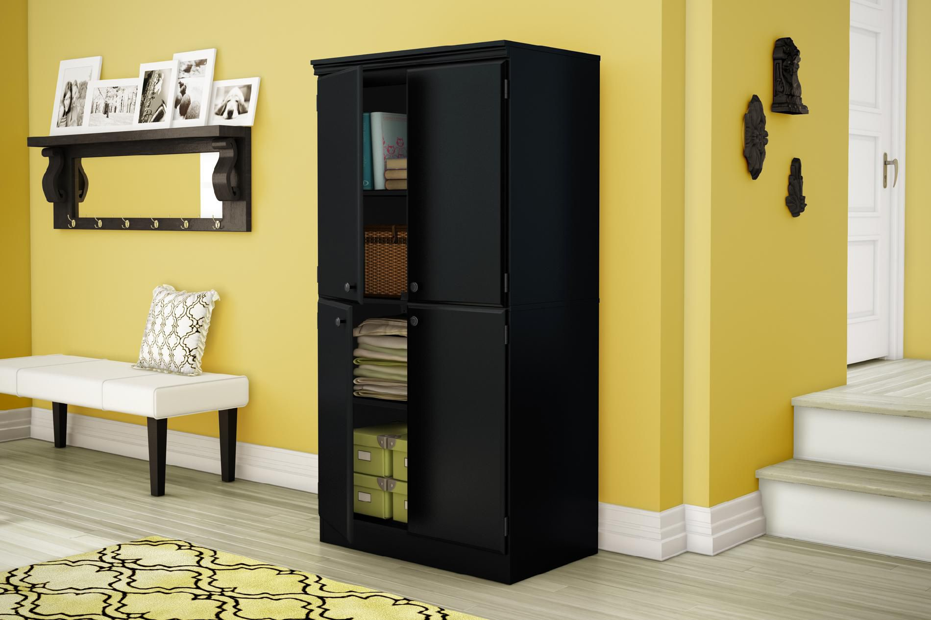 South Shore Morgan Collection Storage Cabinet Pure Black
