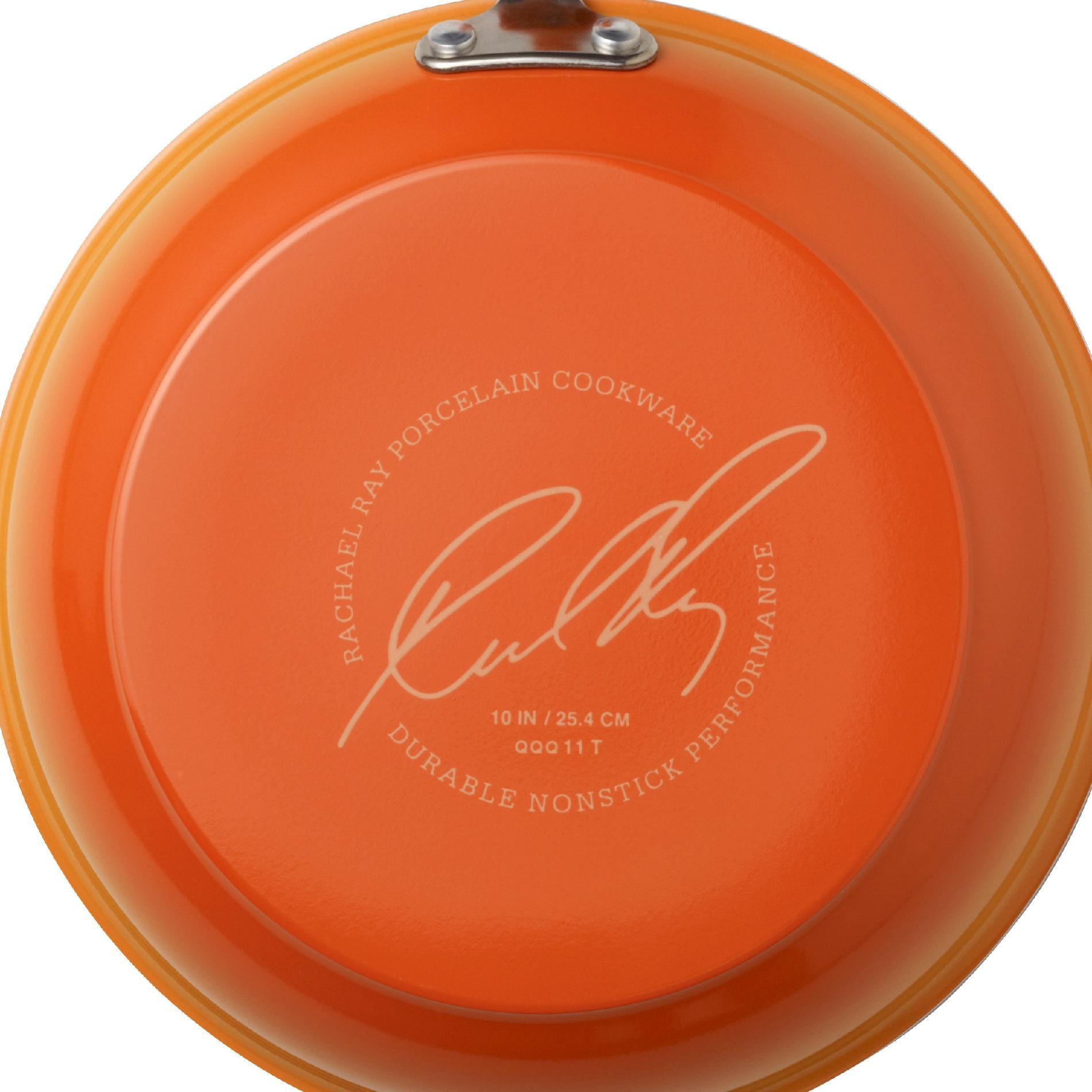 Rachael Ray 10-Piece Porcelain Enamel Non-Stick Orange Cookware Set