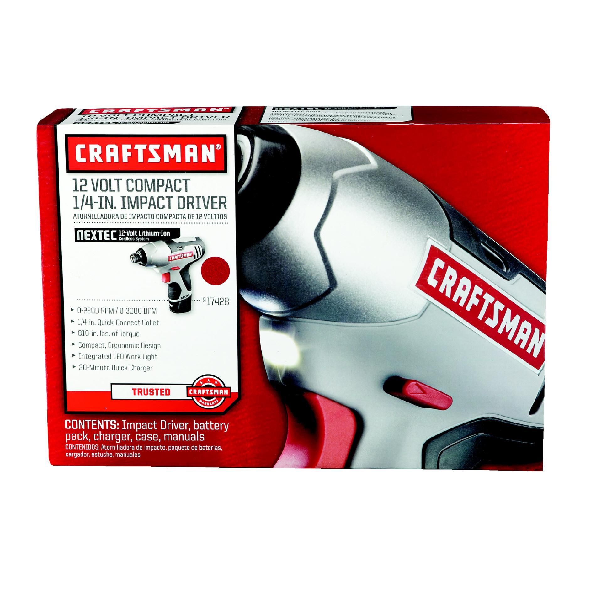 """Craftsman 17428 Nextec 12-volt Cordless Compact 1/4"""" Impact Driver"""