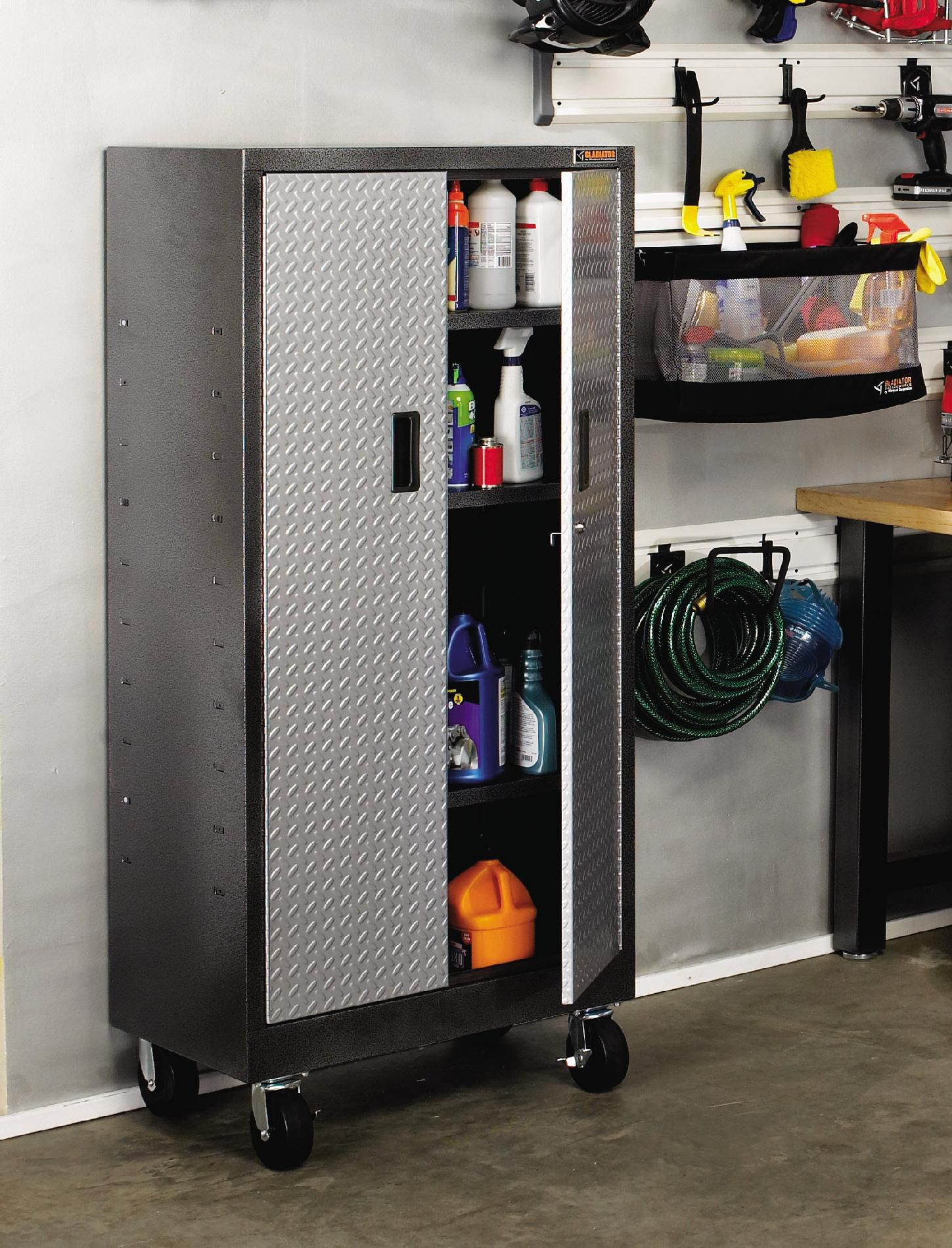 Gladiator Premier Series Pre-Assembled 66 in. H x 30 in. W x 18 in. D Steel Rolling Garage Cabinet in Silver Tread