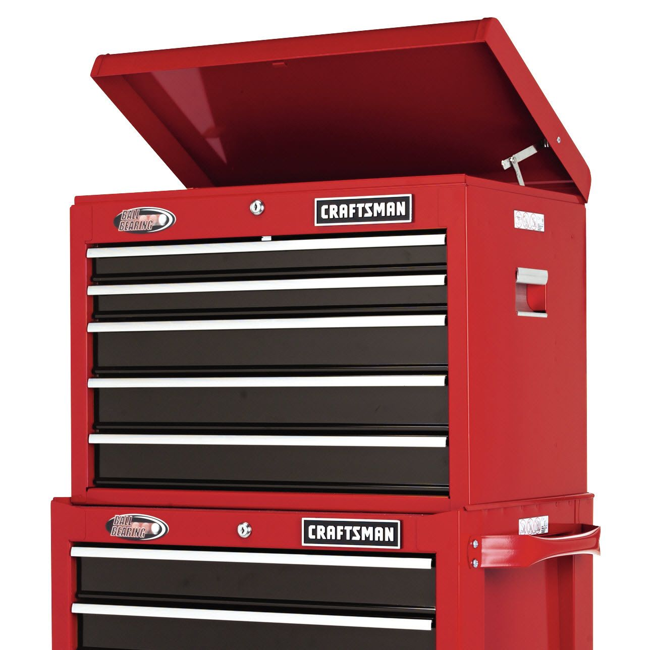 "Craftsman 26"" Wide 5-Drawer Ball-Bearing Top Chest - Red/Black"