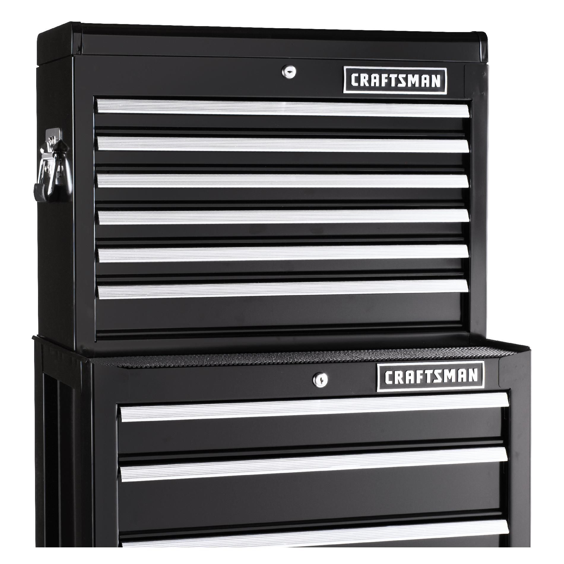Craftsman 26 in. Wide 6 Drawer Heavy Duty Top Chest, Black