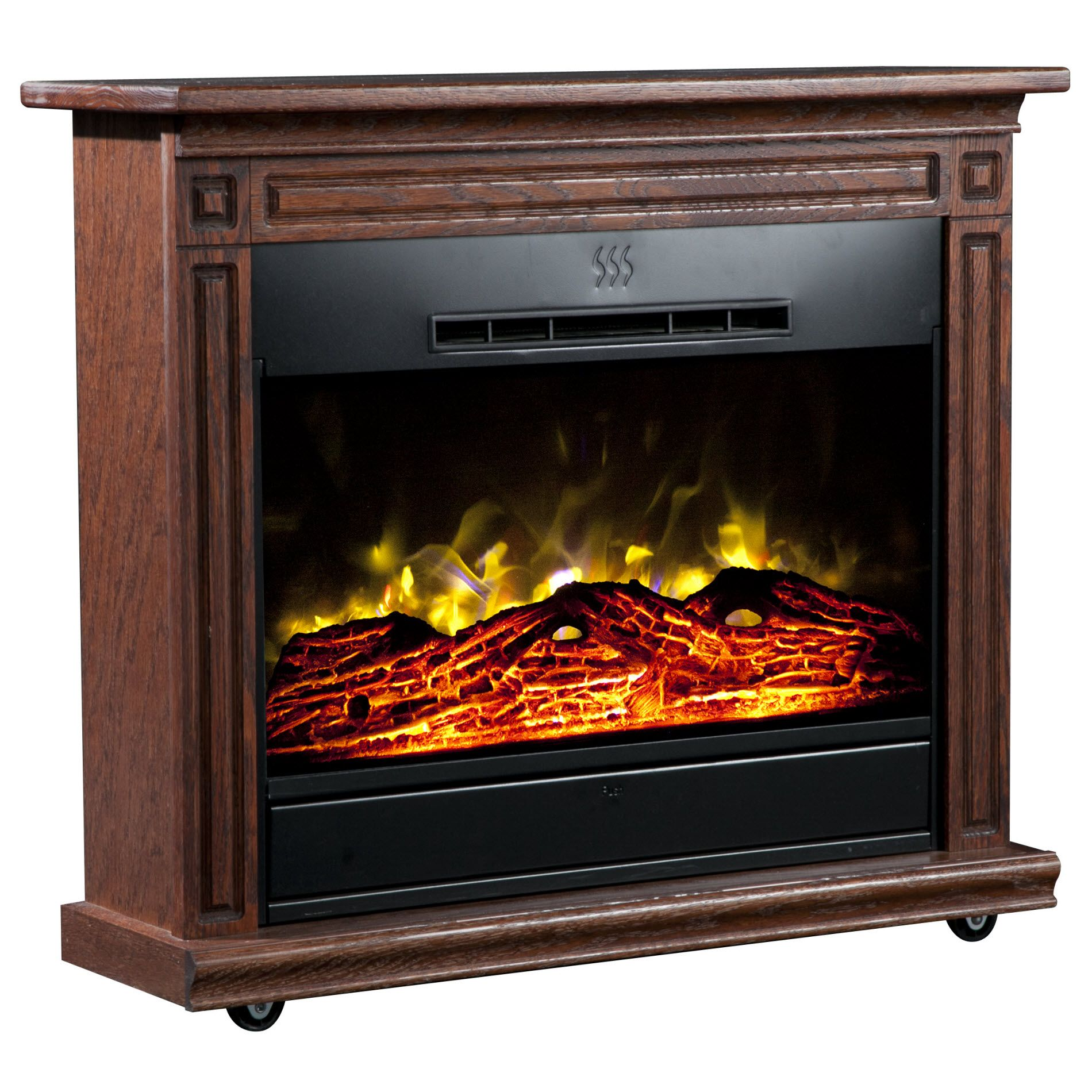 Heat Surge Roll-n-Glow Electric Fireplace with Amish-made Wood Mantle - Dark Oak